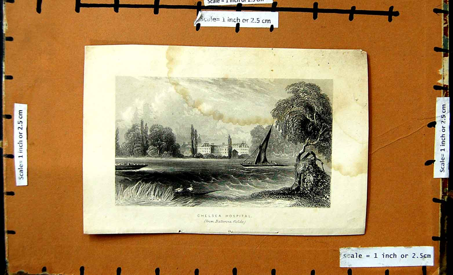 [Print View Chelsea Hospital Battersea Fields River Boats 177F176 Old Original]