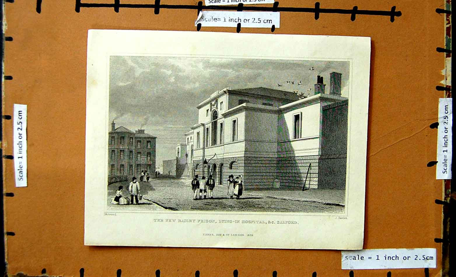 [Print 1829 View New Bailey Prison Lying-N Hospital Salford 184F176 Old Original]