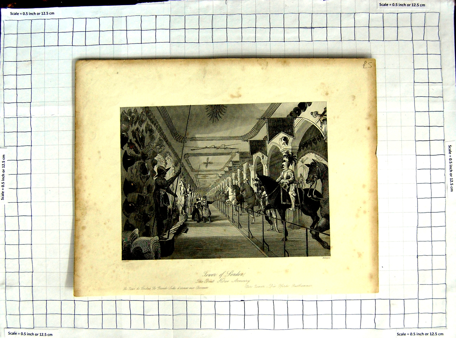[Print *3523 Great Horse Armoury Tower London Gilbert Melville 148G101 Old Original]