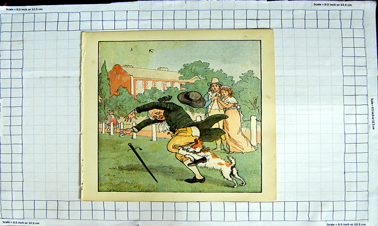 [Print Colour Nursery Rhyme Dog Attacking Mans Leg 120G107 Old Original]