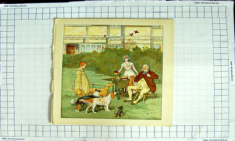 [Print Colour Man Dinner Table Garden Dogs Boy Hunting 154G107 Old Original]
