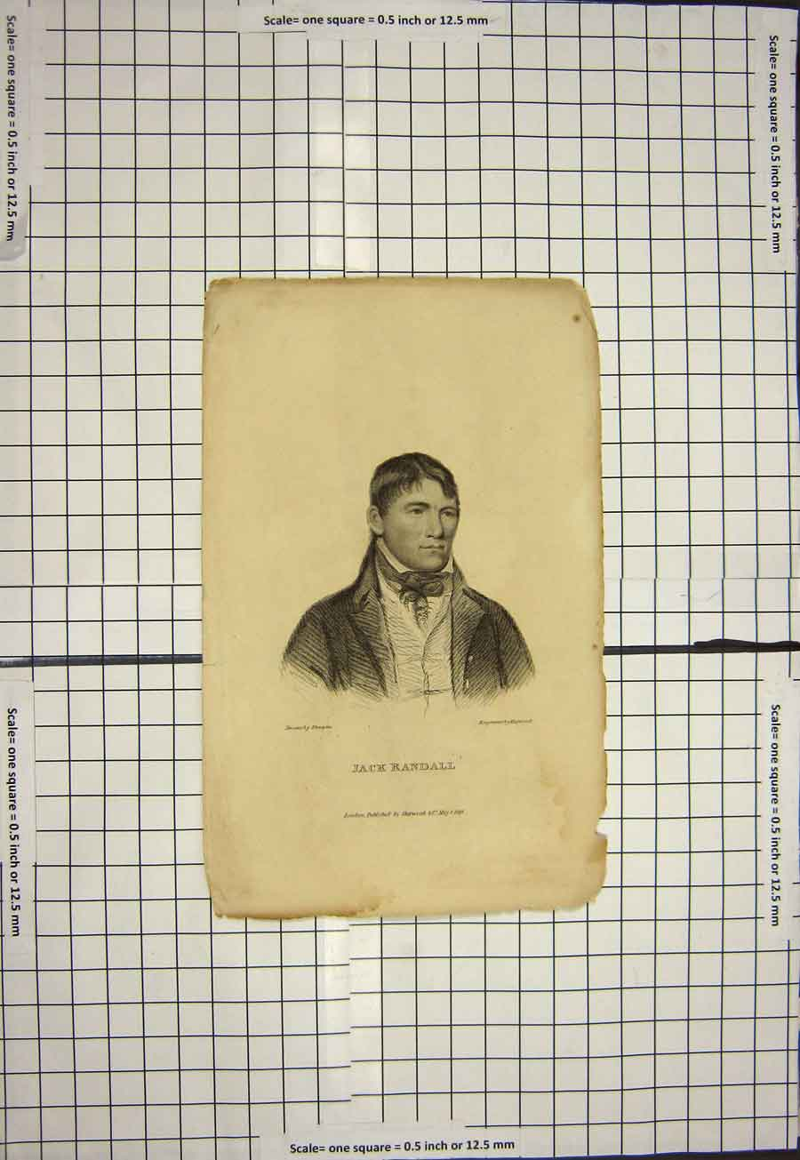 Print 1828 Portrait Jack Randall Engraving Hopwood 120G120 Old Original