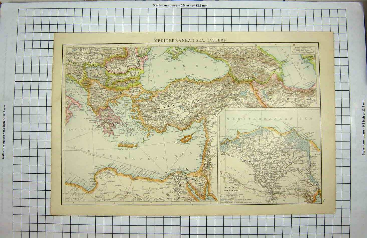 Print Bacon Map 1894 Mediterranean Asia Minor Suez Canal Nile 123G137 Old Original