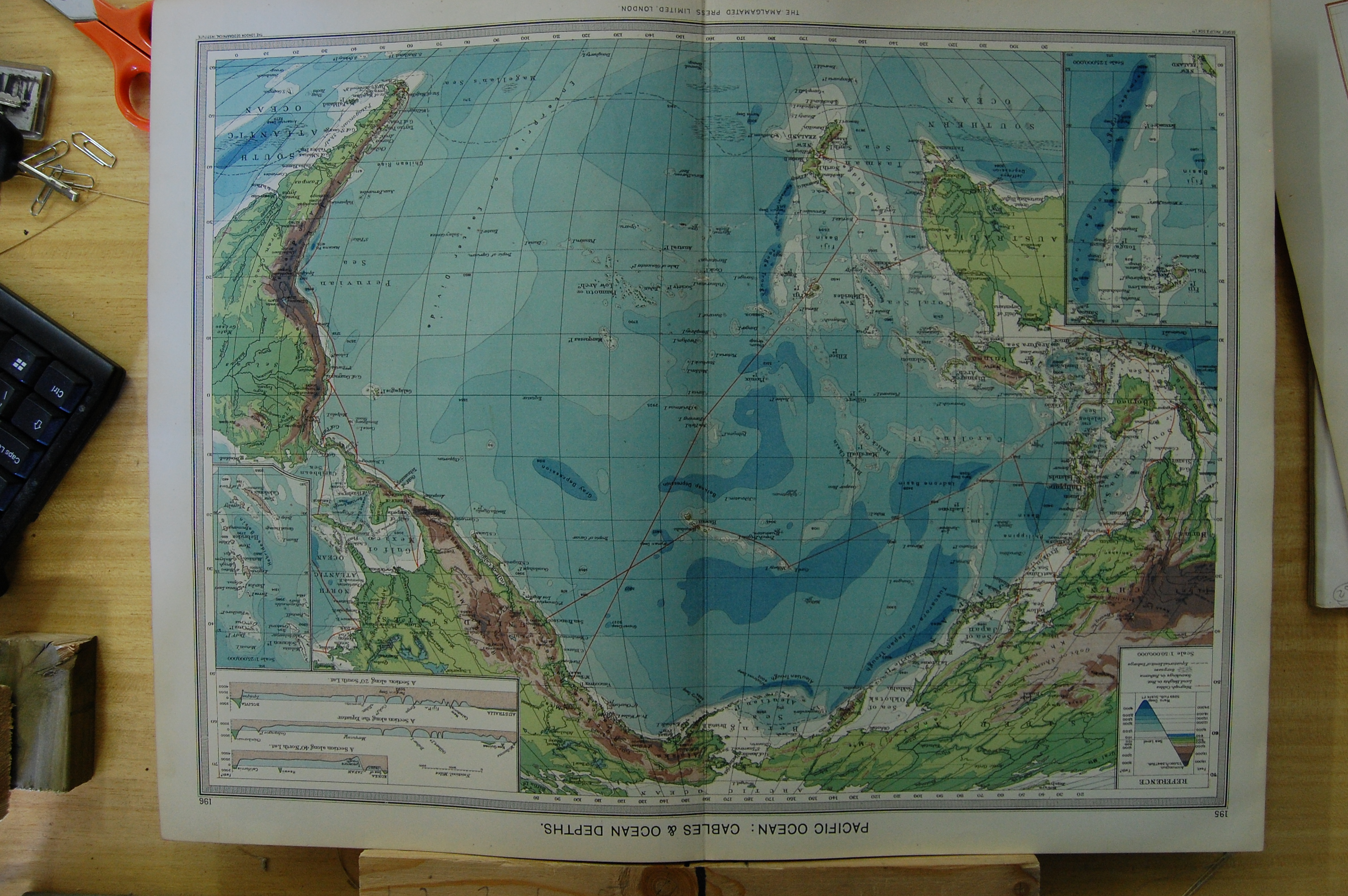 OldPrint Antique And Victorian Art Prints Paintings World Maps - Pacific ocean depth map