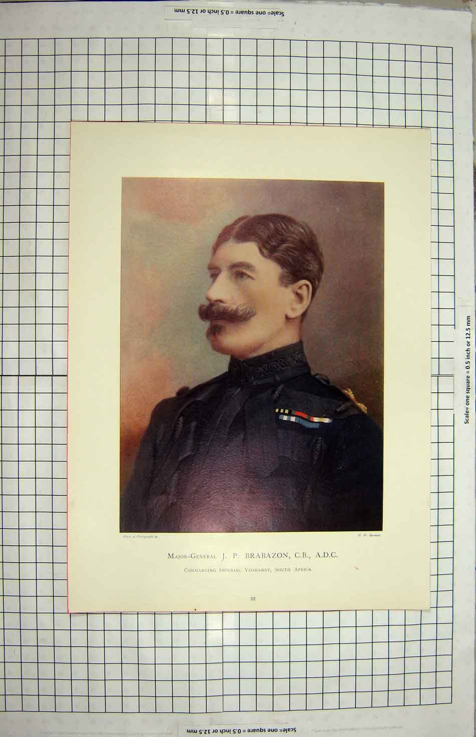 [Print Major-General Brabazon Imperial Yeomanry Africa 203G149 Old Original]