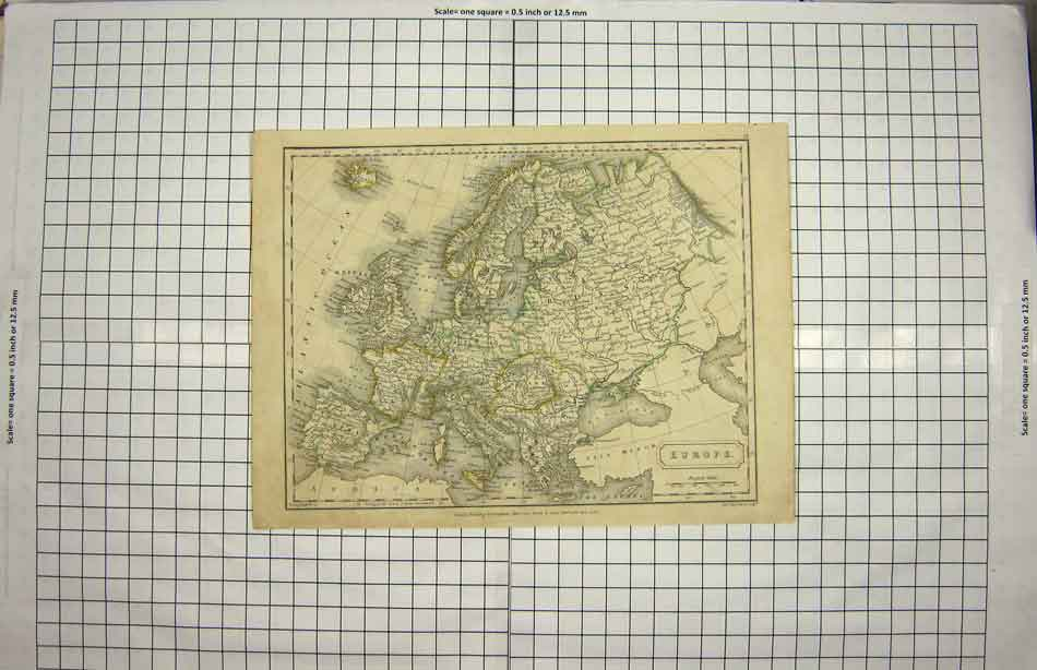 [Print Hall Map 1826 Europe France Spain Britain Italy 126G150 Old Original]