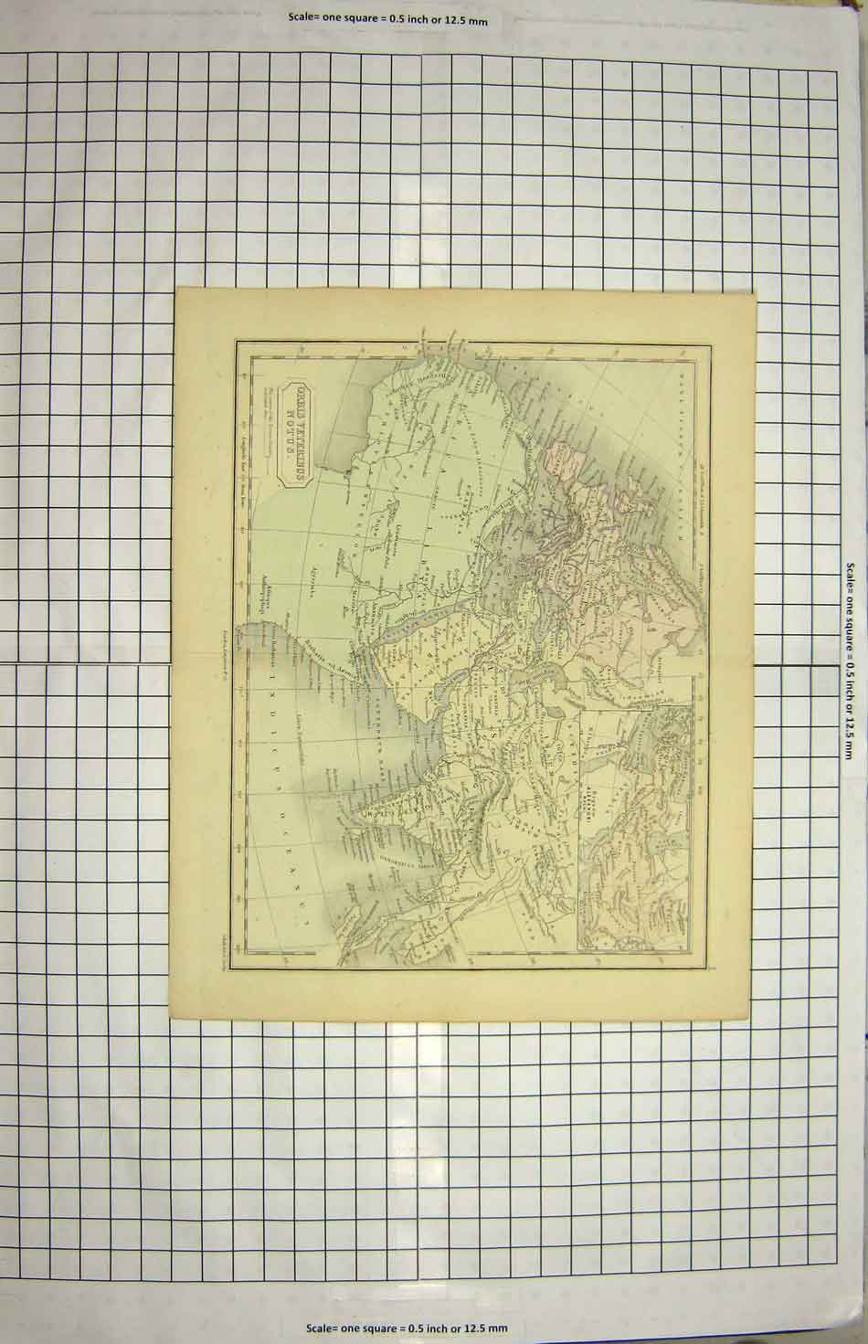 [Print Hall Map Orbis Veteribus Africa Europe Arabia 172G151 Old Original]