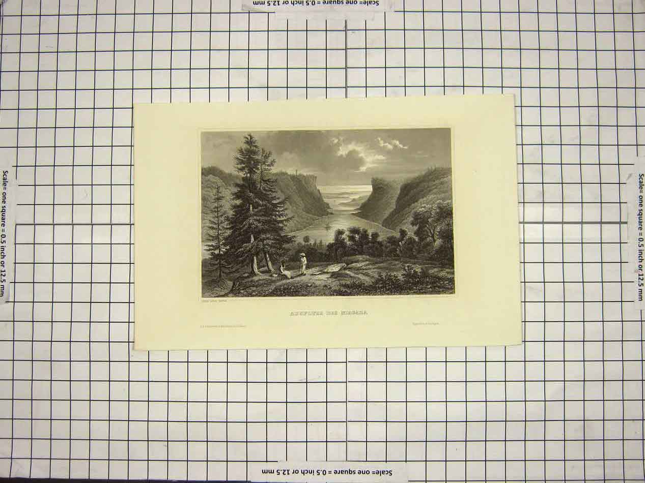 [Print *3526 C1790-C1900 Outlet Niagara River Canada 155G152 Old Original]