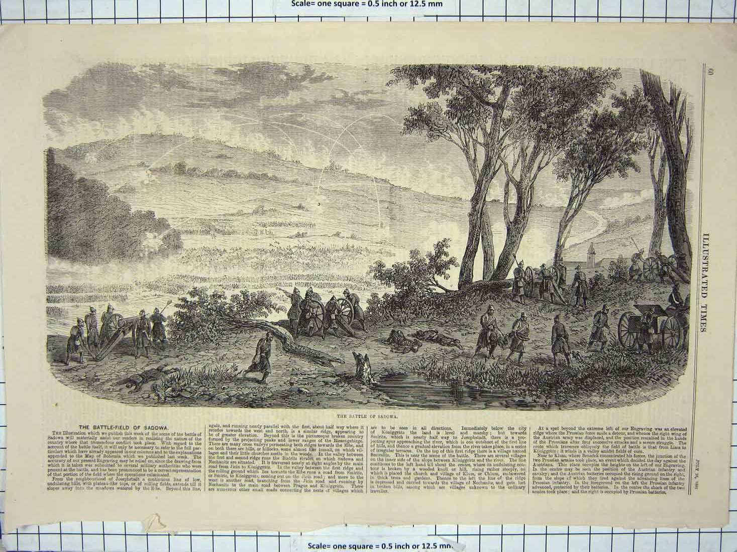 [Print 1866 Scene Battle Sadowa Soldiers War Weapons 106G176 Old Original]