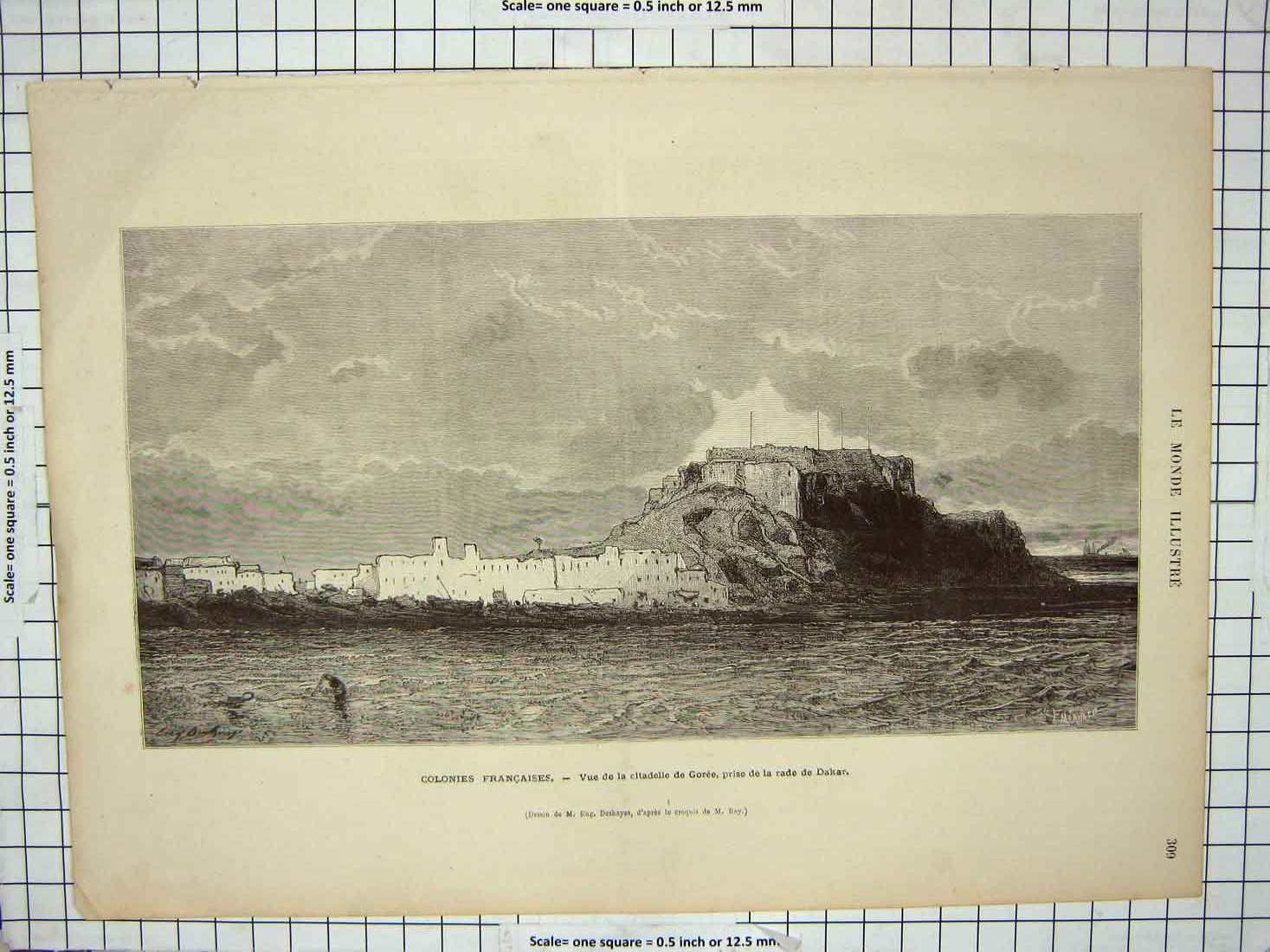 [Print France Citadelle Goree Prise Rade Dakar Fort Defences 130G176 Old Original]