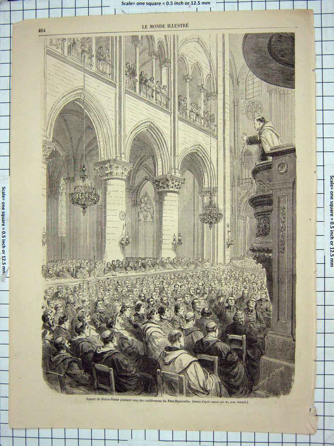 [Print Interior Notre Dame Pere Hyacinth Architecture Franc 178G176 Old Original]