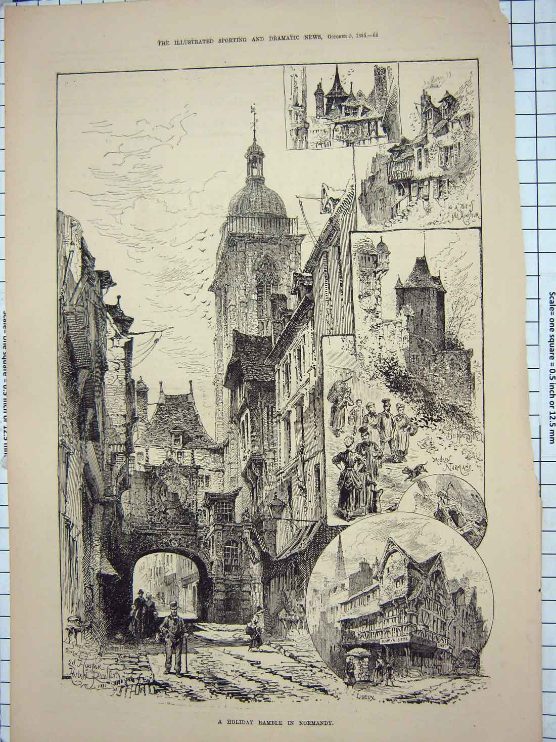 [Print 1885 Normandy France Lisieux Architecture Normans 194G176 Old Original]