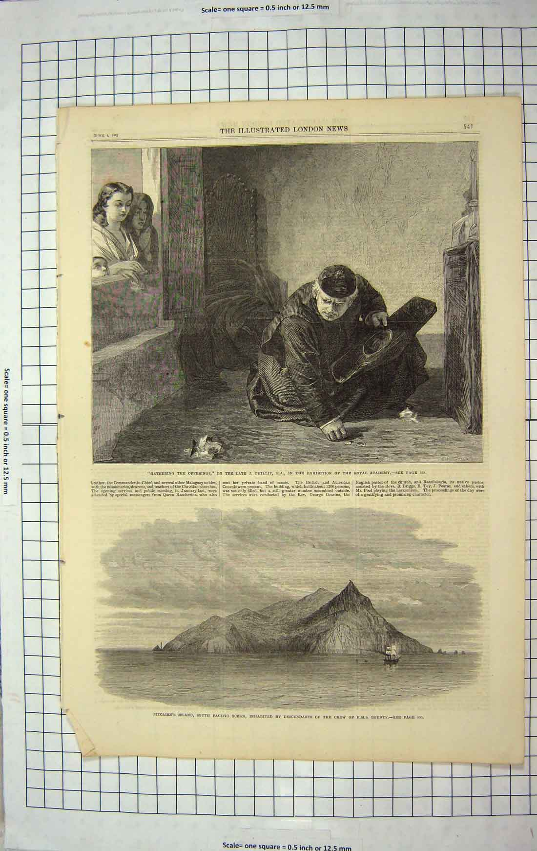[Print 1867 Pitcairn Island Pacific Ocean Ship Bounty Monk 204G179 Old Original]