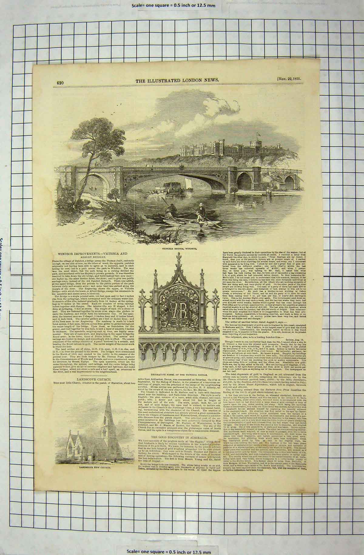 Print 1851 Victoria Bridge Windsor London Landscove Church 251G179 Old Original