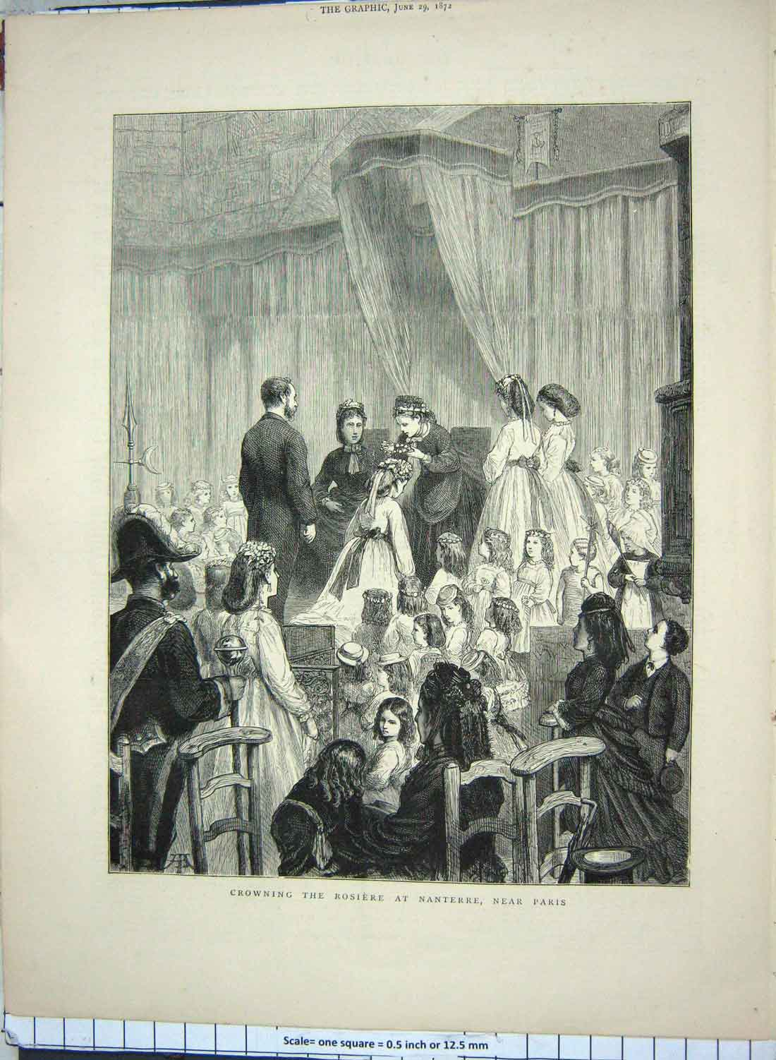 [Print 1872 Children Crowning Rosiere Nanterre Paris France 164G180 Old Original]