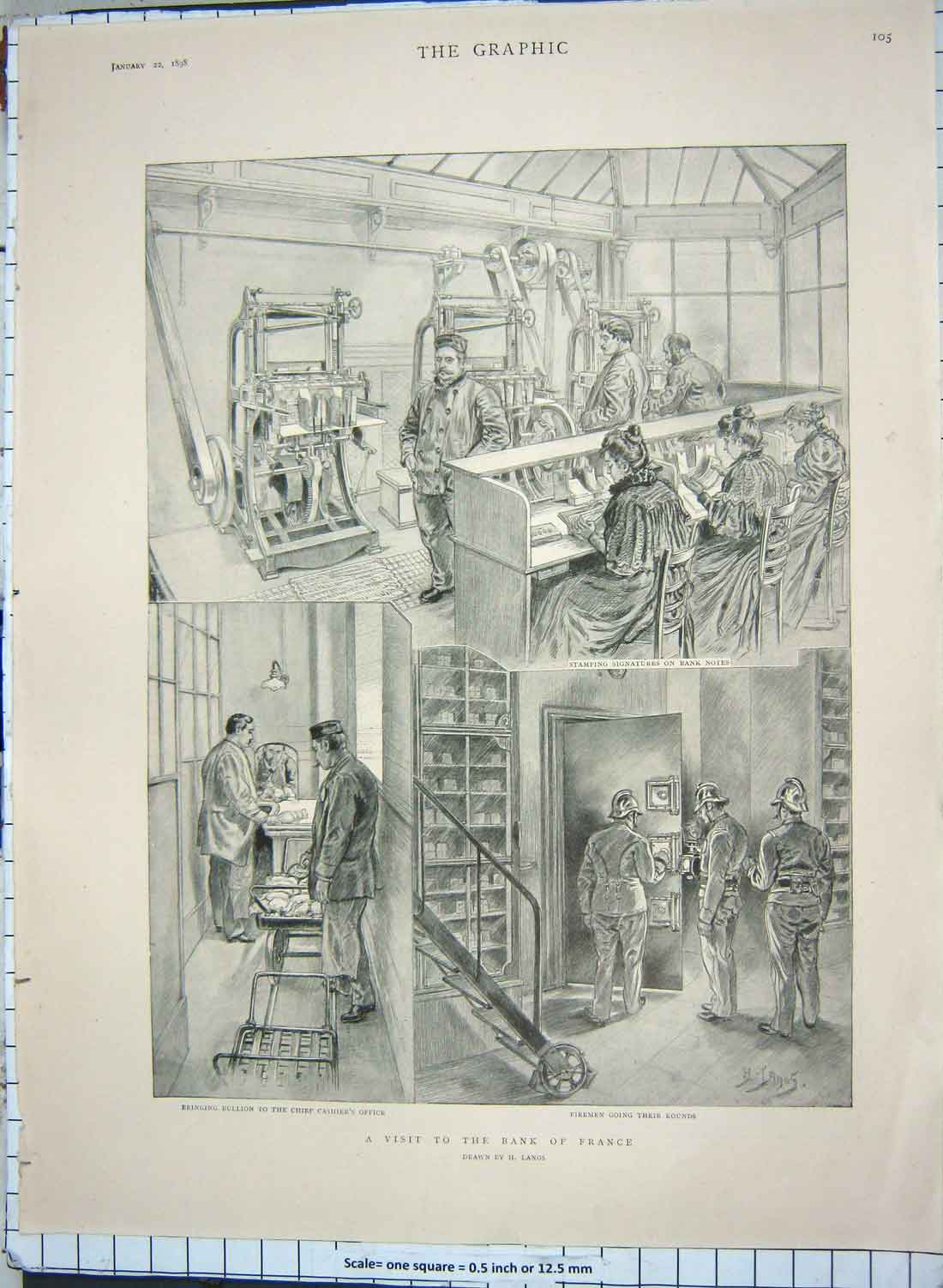 [Print 1898 Bank France Bullion Queen Kensington Kew Palace 245Rg180 Old Original]