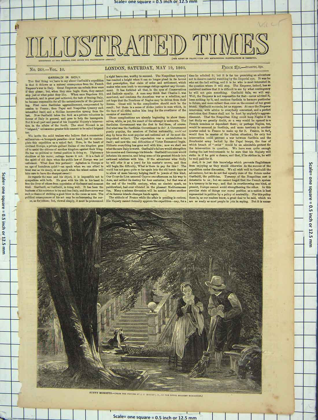 [Print 1860 Sunny Moments Garden Dog Lady Man Romance 133G199 Old Original]