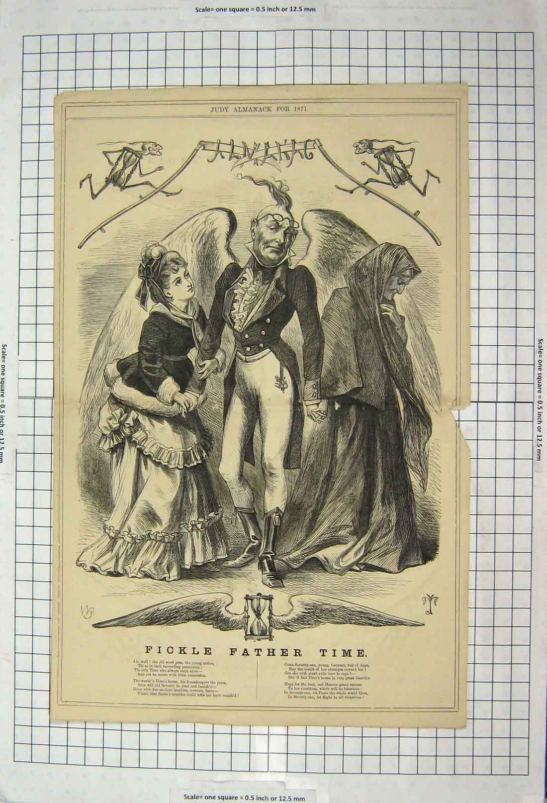 [Print Fickle Father Time 1871 Poem Crying Man Romance 106G201 Old Original]