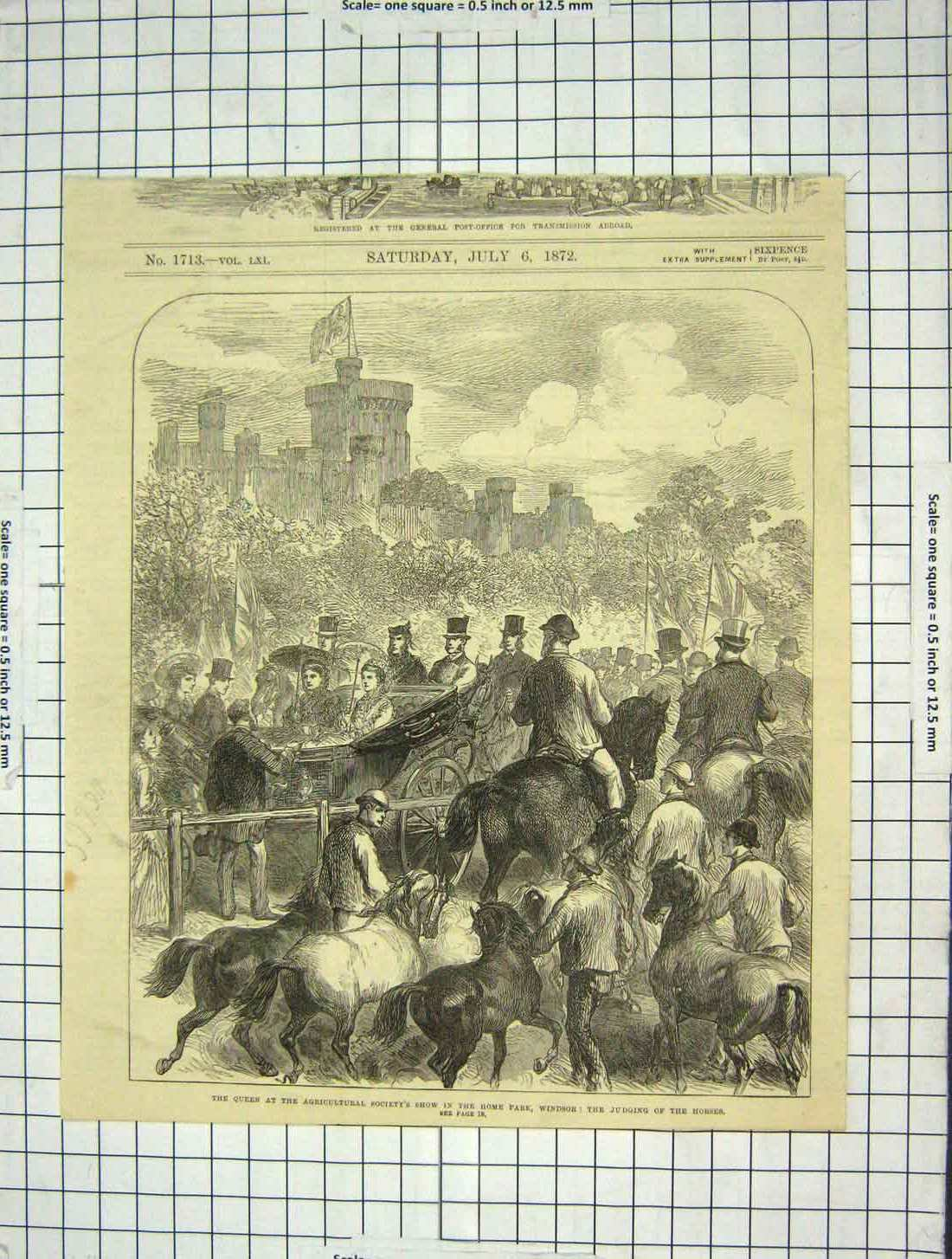 Print 1872 Queen Agricultural Show Home Park Windsor Horses 176G204 Old Original