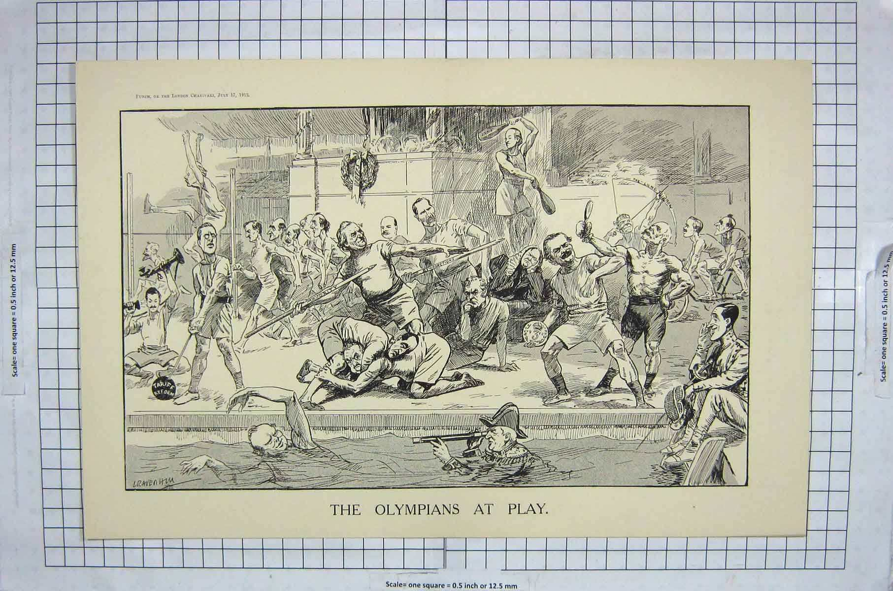 [Print Olympians Play Sport Athletics Soldiers 147G216 Old Original]