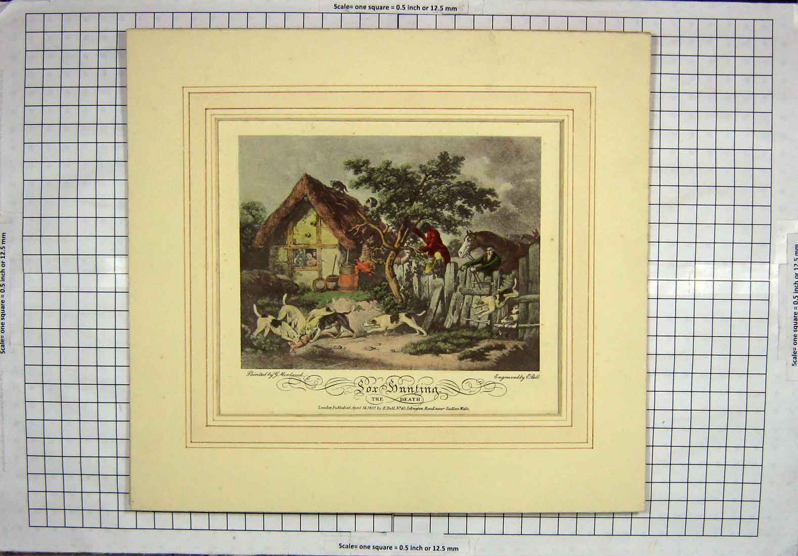 [Print 1800 Fox Hunting Hounds Dogs Death Horses Sport Bell 102G219 Old Original]
