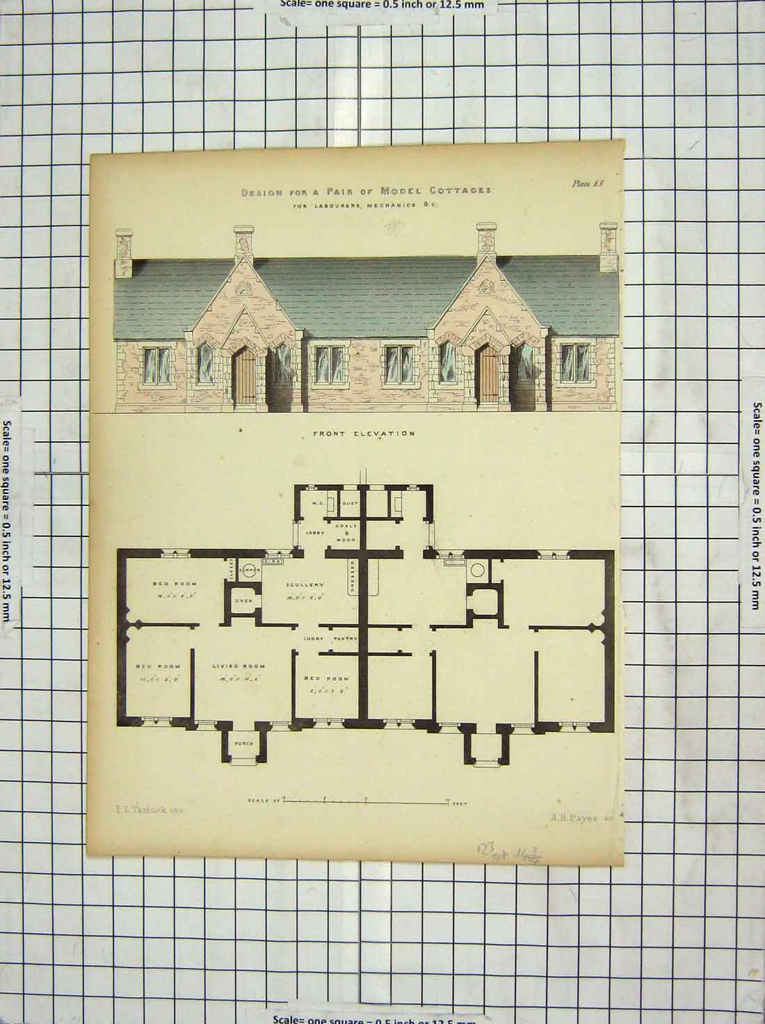 Print Architecture Design Model Cottages Plan Tarbuck Payne 111G228 Old Original
