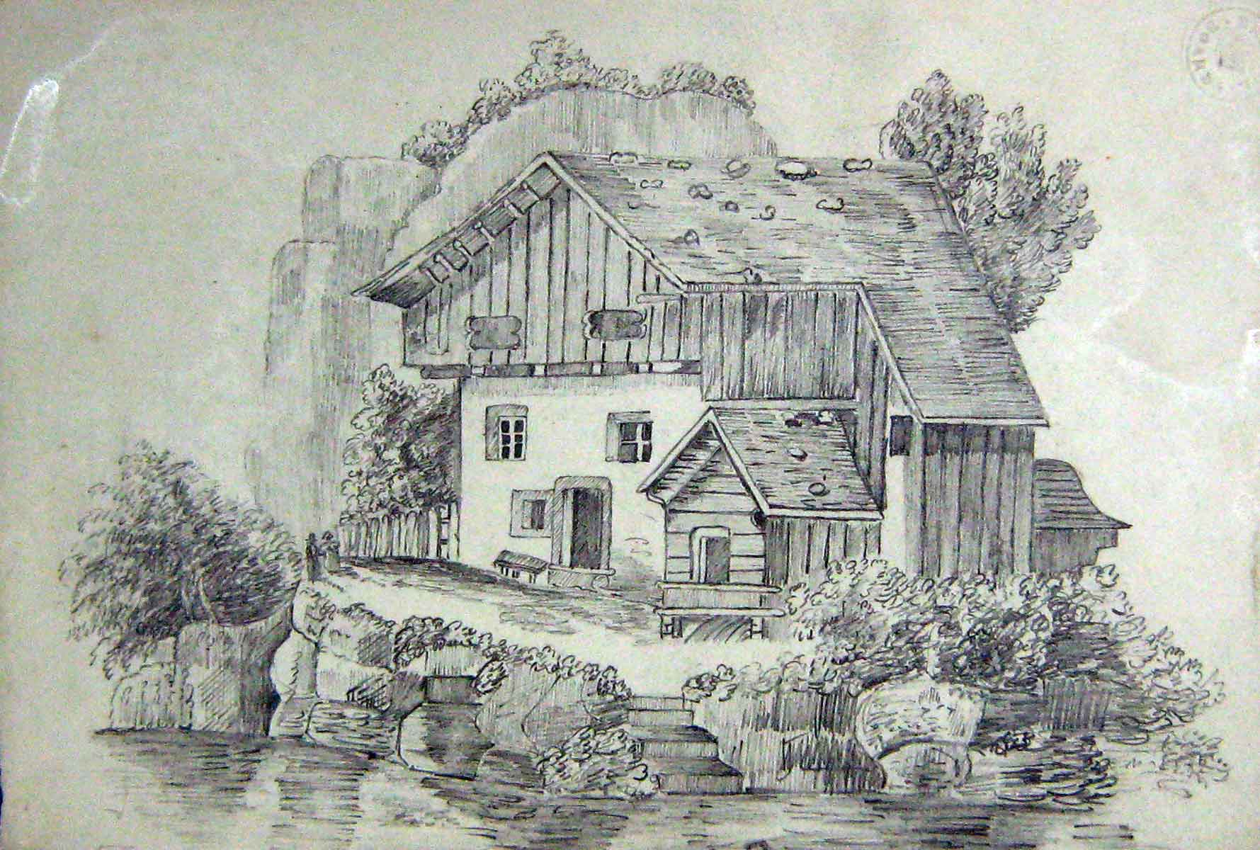 [Print 1849 Henry Hawkes Drawing Riverside House Architecture 119G235 Old Original]