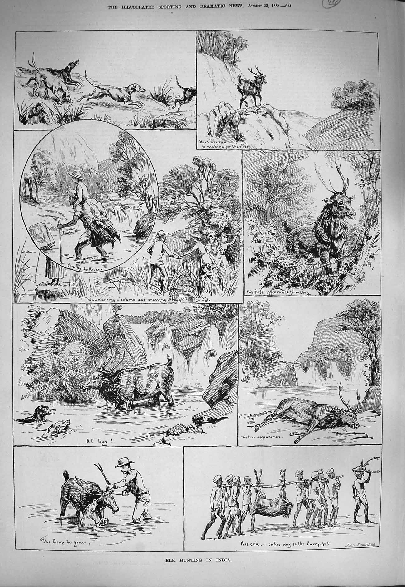 [Print 1884 Elk Hunting India Hounds Dogs Sport Mountains 604G275 Old Original]