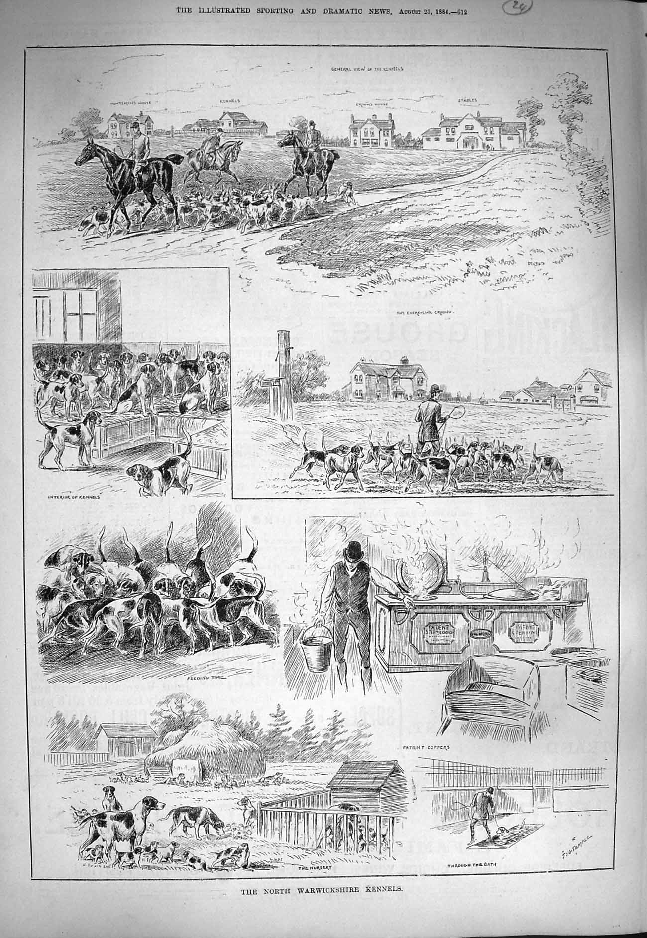 [Print 1884 Warwickshire Kennels Hunting Hounds Dogs Horses 612G275 Old Original]