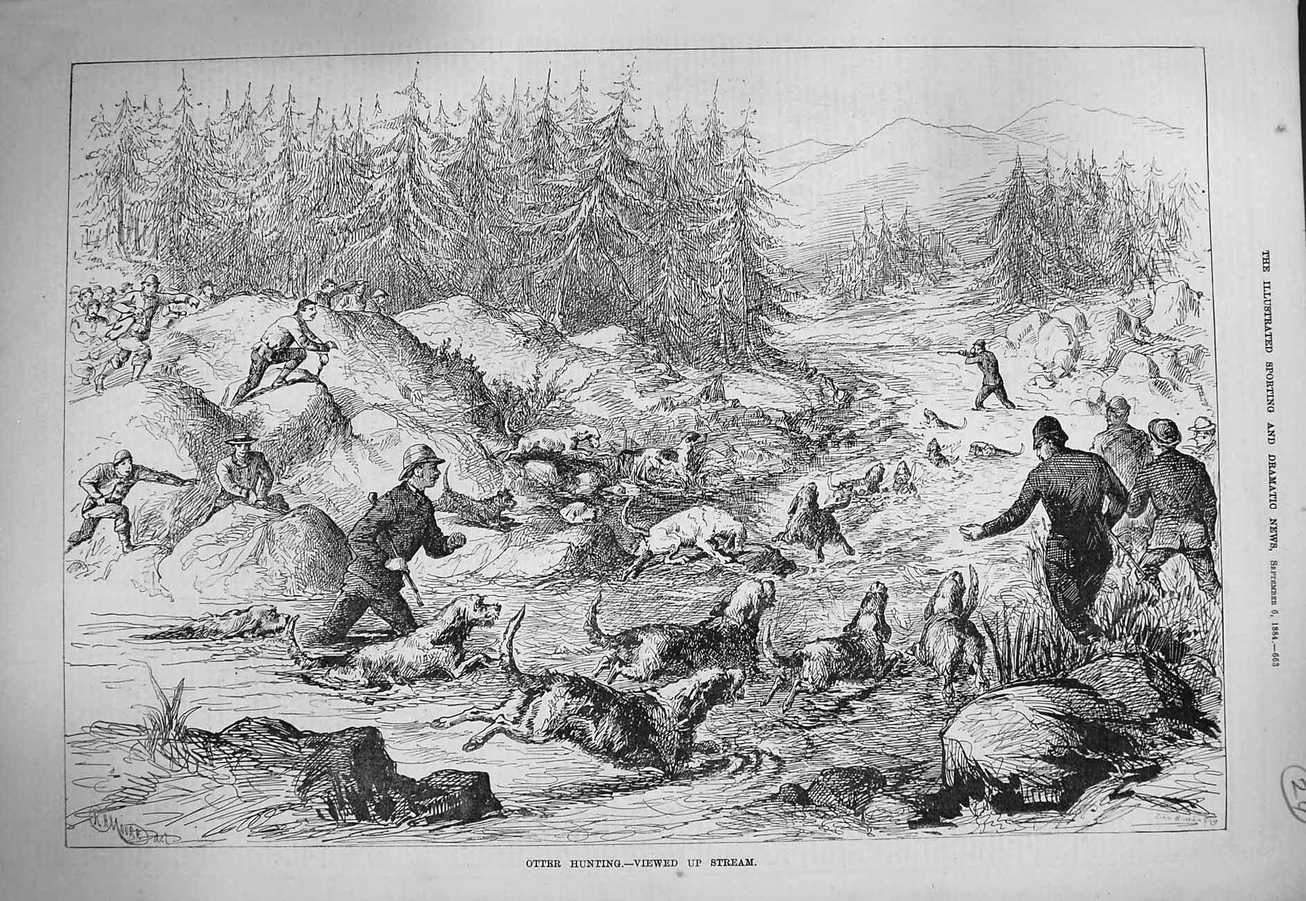 [Print 1884 Otter Hunting River Hounds Dogs Trees Mountains 663G275 Old Original]