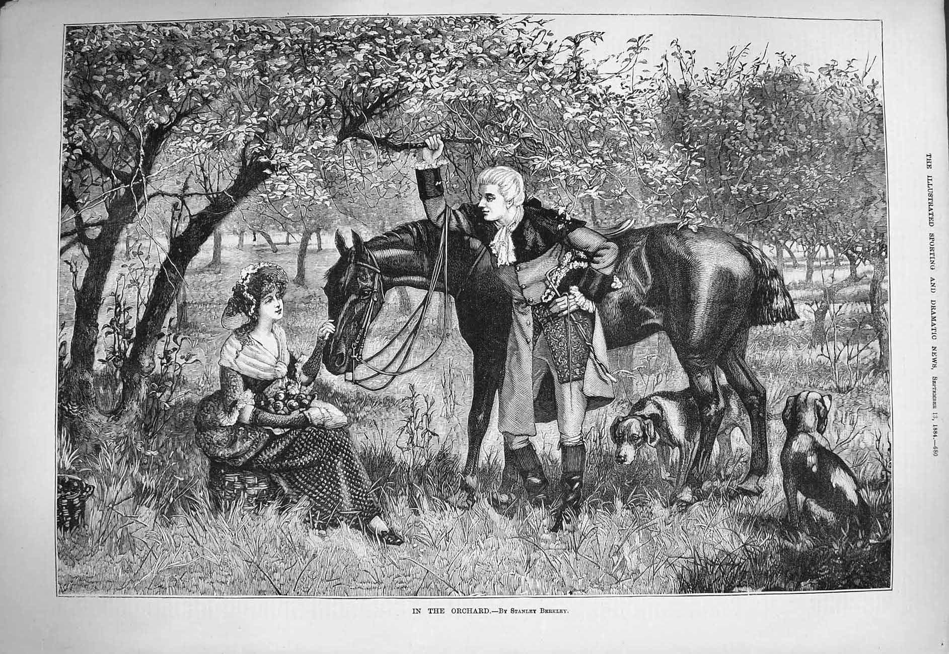 [Print 1884 Orchard Trees Fruit Man Lady Horse Romance Dogs 680G275 Old Original]