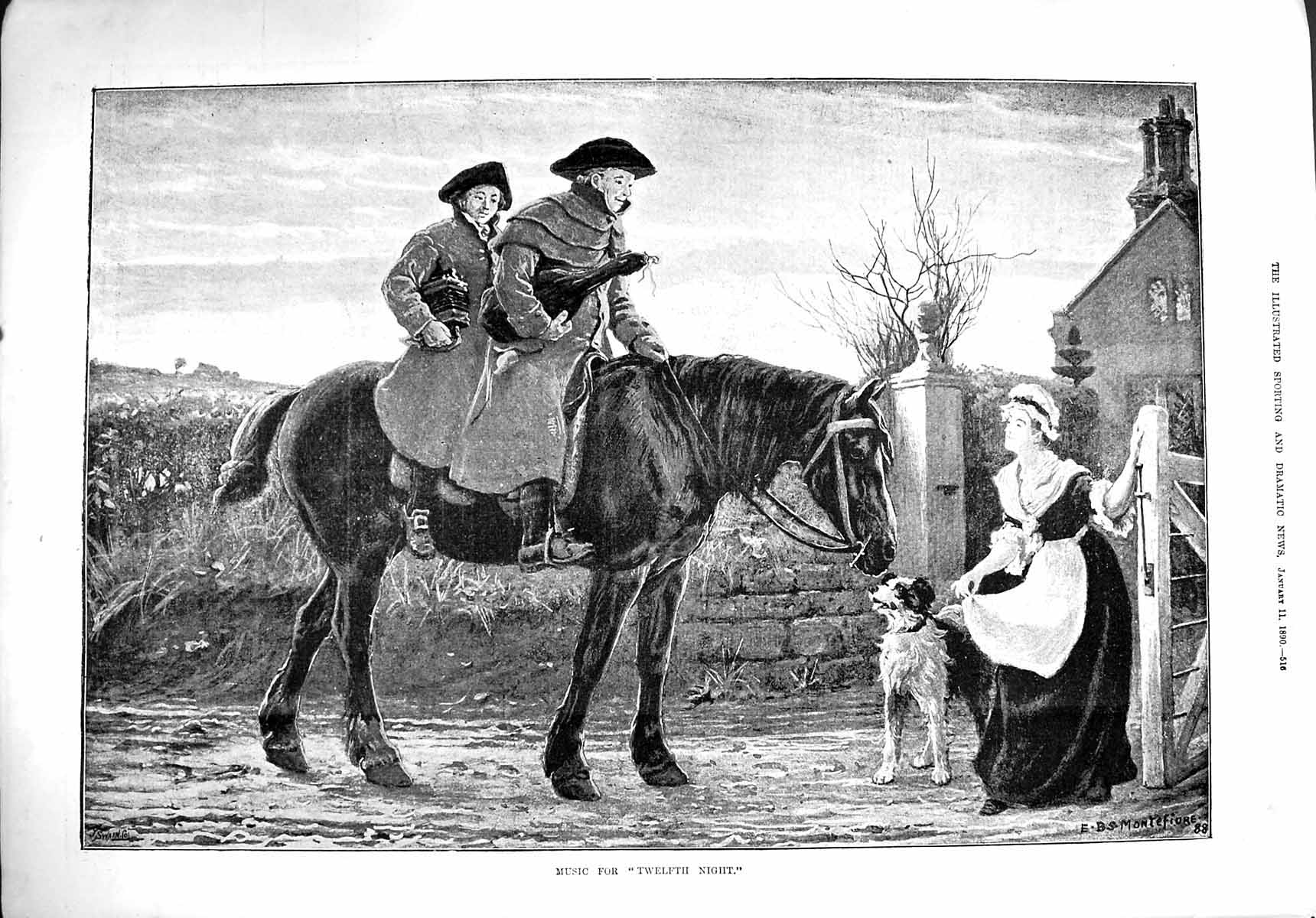 [Print 1890 Music Twelfth Night Men Horse Dog House Lady 516G276 Old Original]