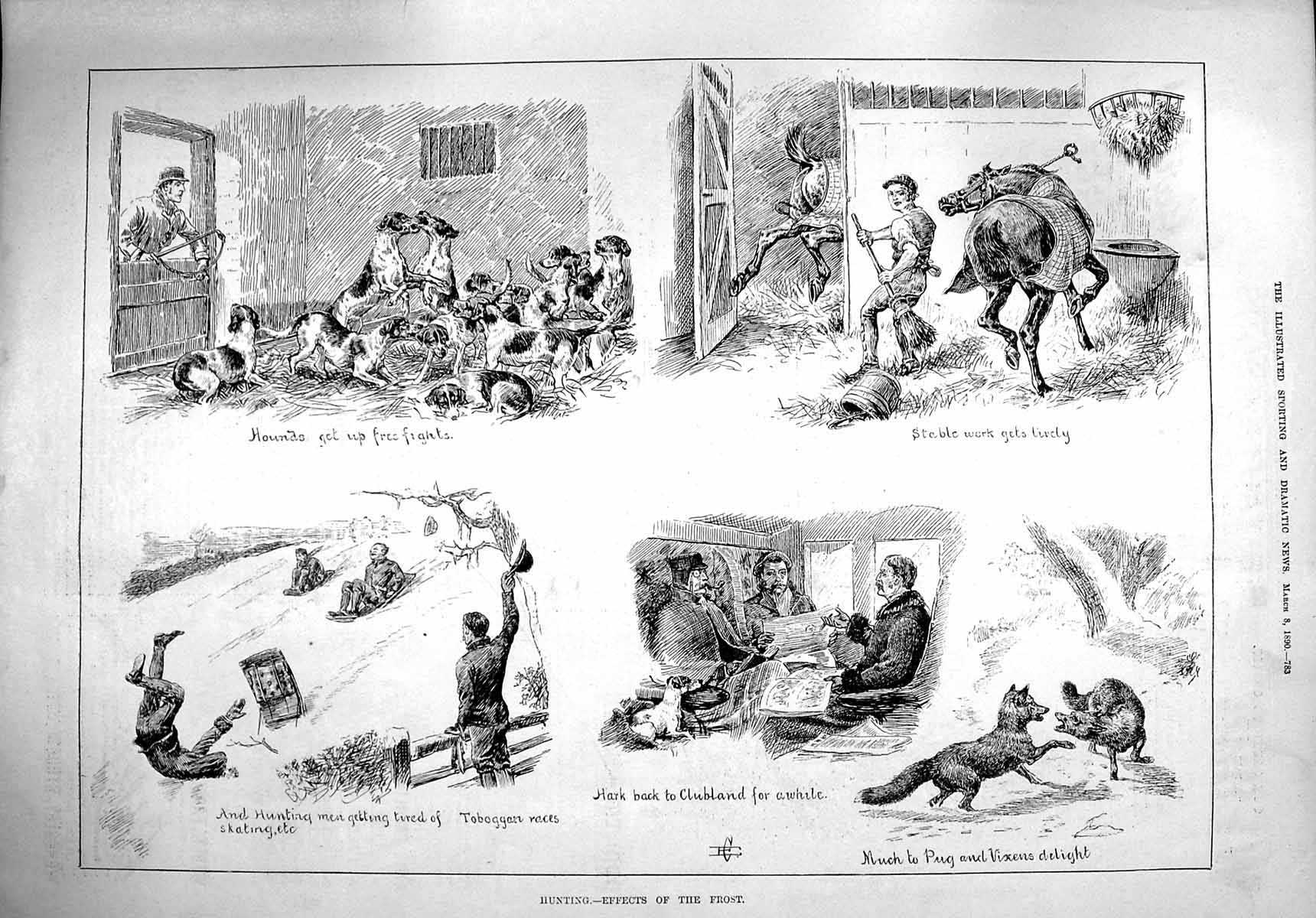 [Print 1890 Hunting Dogs Hounds Foxes Snow Sledge Sport 783G276 Old Original]