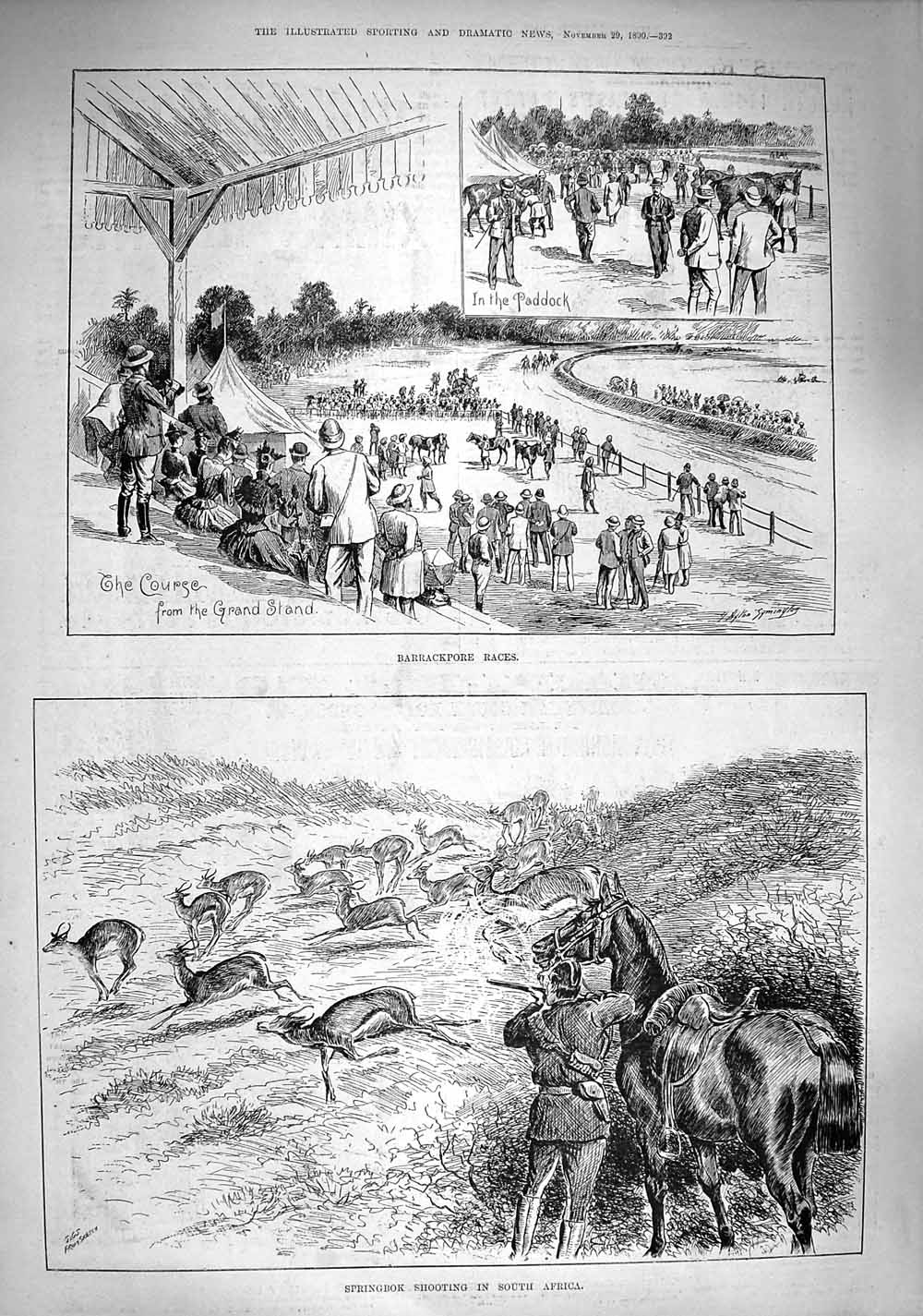 [Print 1890 Barrackpore Races Springbok Shooting Africa Sport 392G277 Old Original]