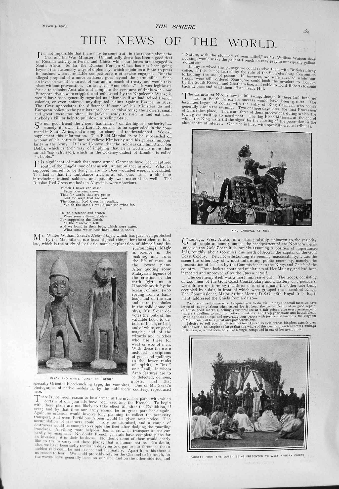 [Print 1900 King Carnival Nice Queen Chiefs Welby Traill Men 181G301 Old Original]