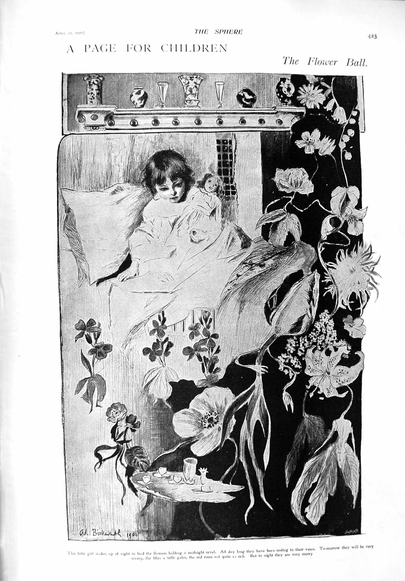 [Print 1900 Little Girl Flowers Bed Paris Electrical Palace 423G302 Old Original]