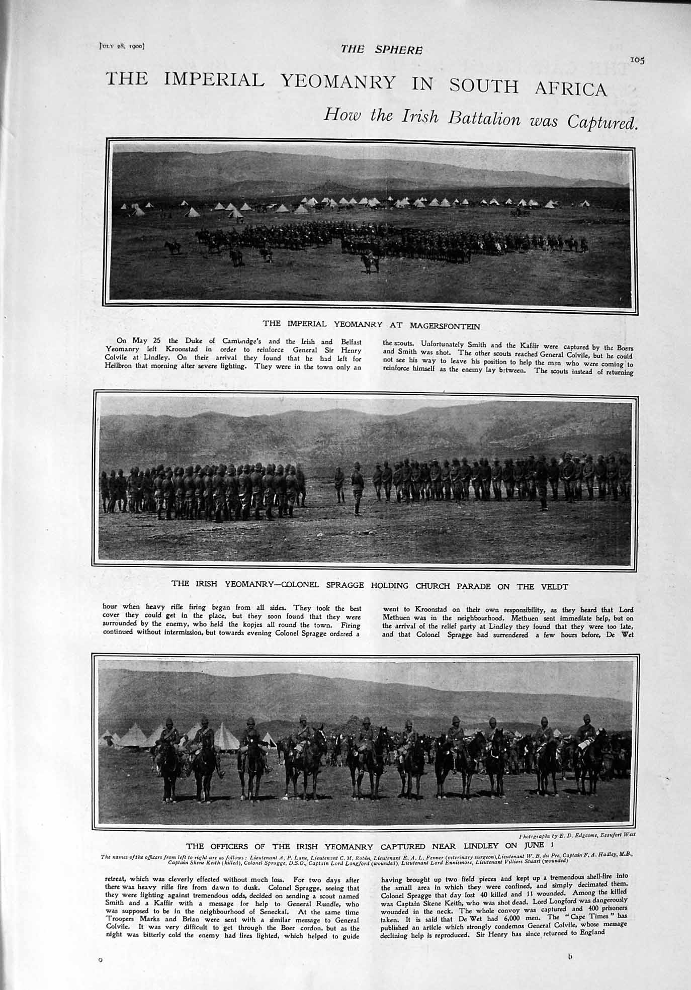 [Print 1900 Imperial Yeomanry Africa Spragge Johannesburg Lord 105G303 Old Original]
