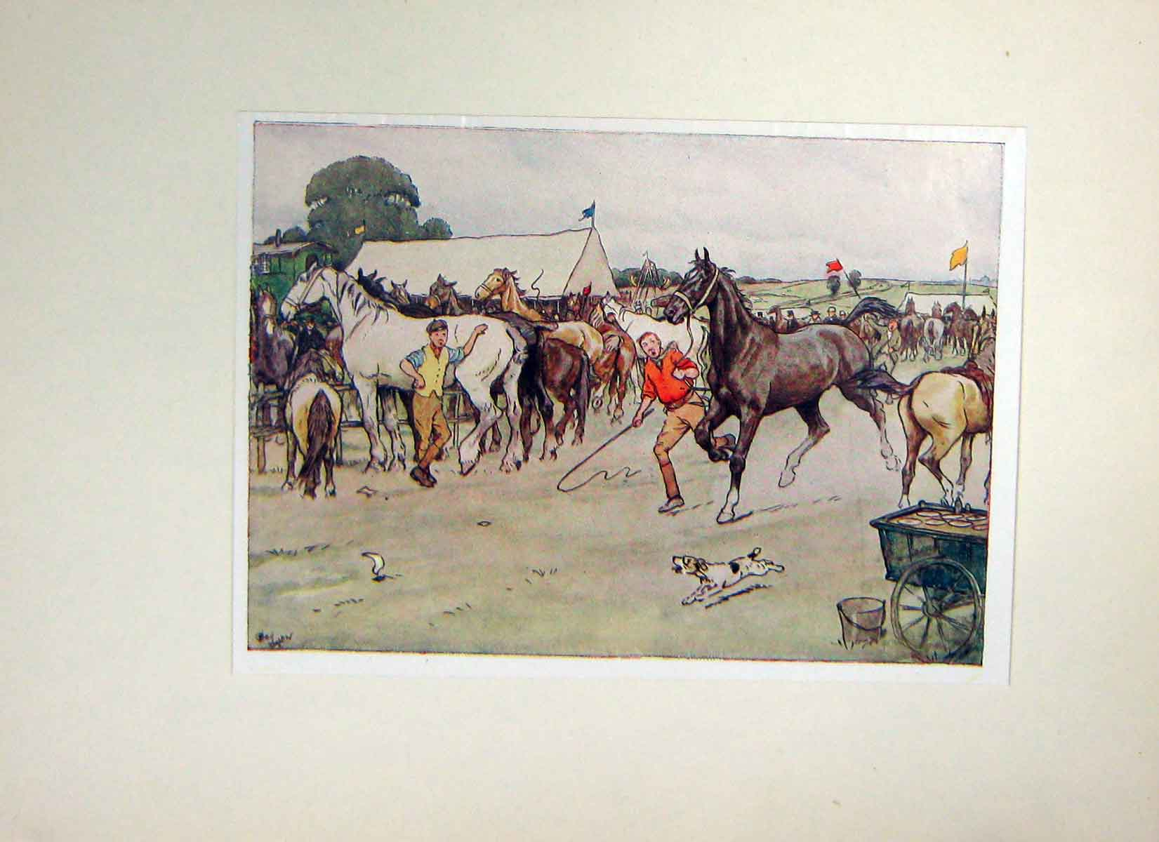 [Print Black Beauty Horse Anna Sewell Fair Show Tents Dogs 104H106 Old Original]