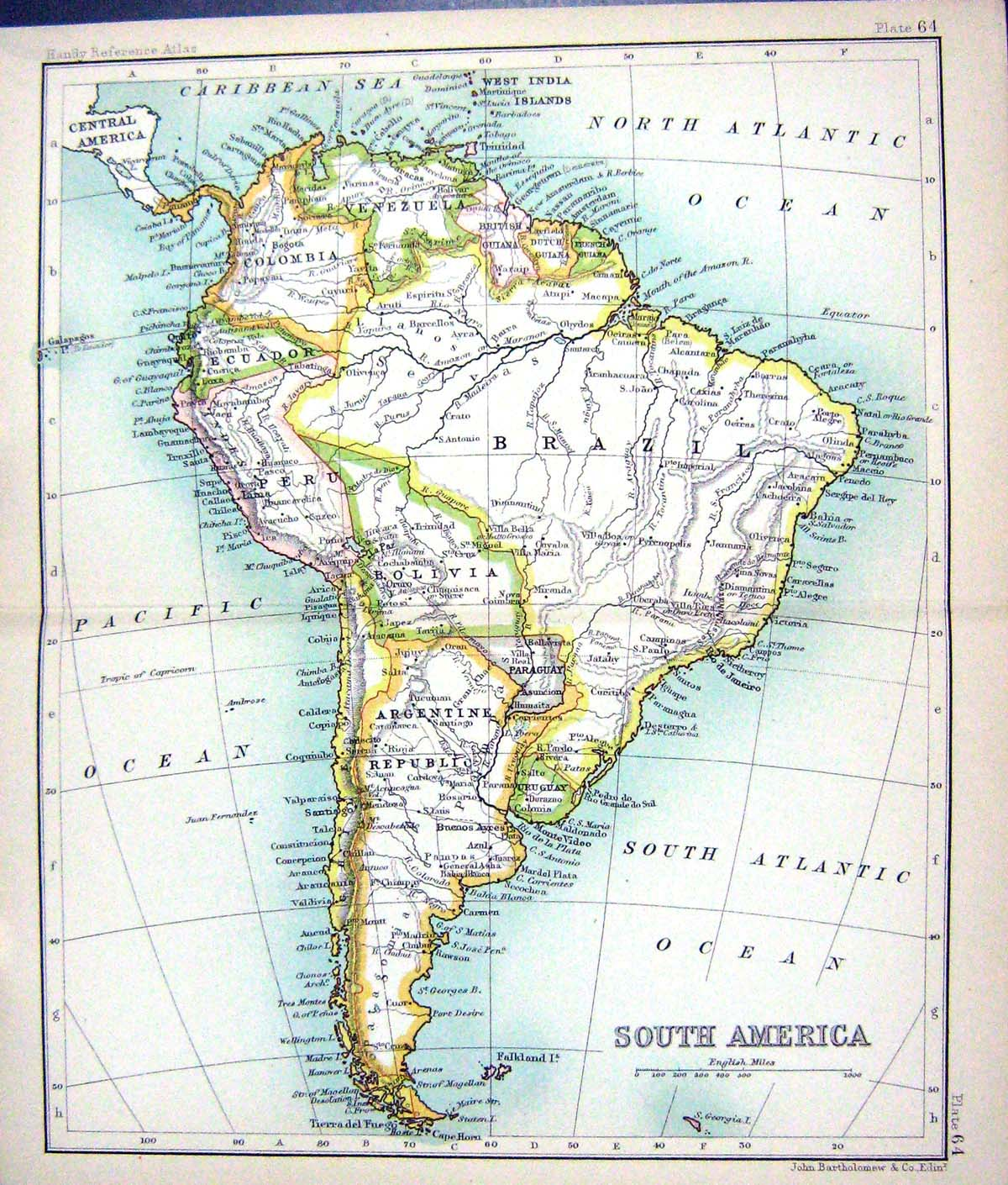 Map Of Brazil Old-Print Antique And Rio