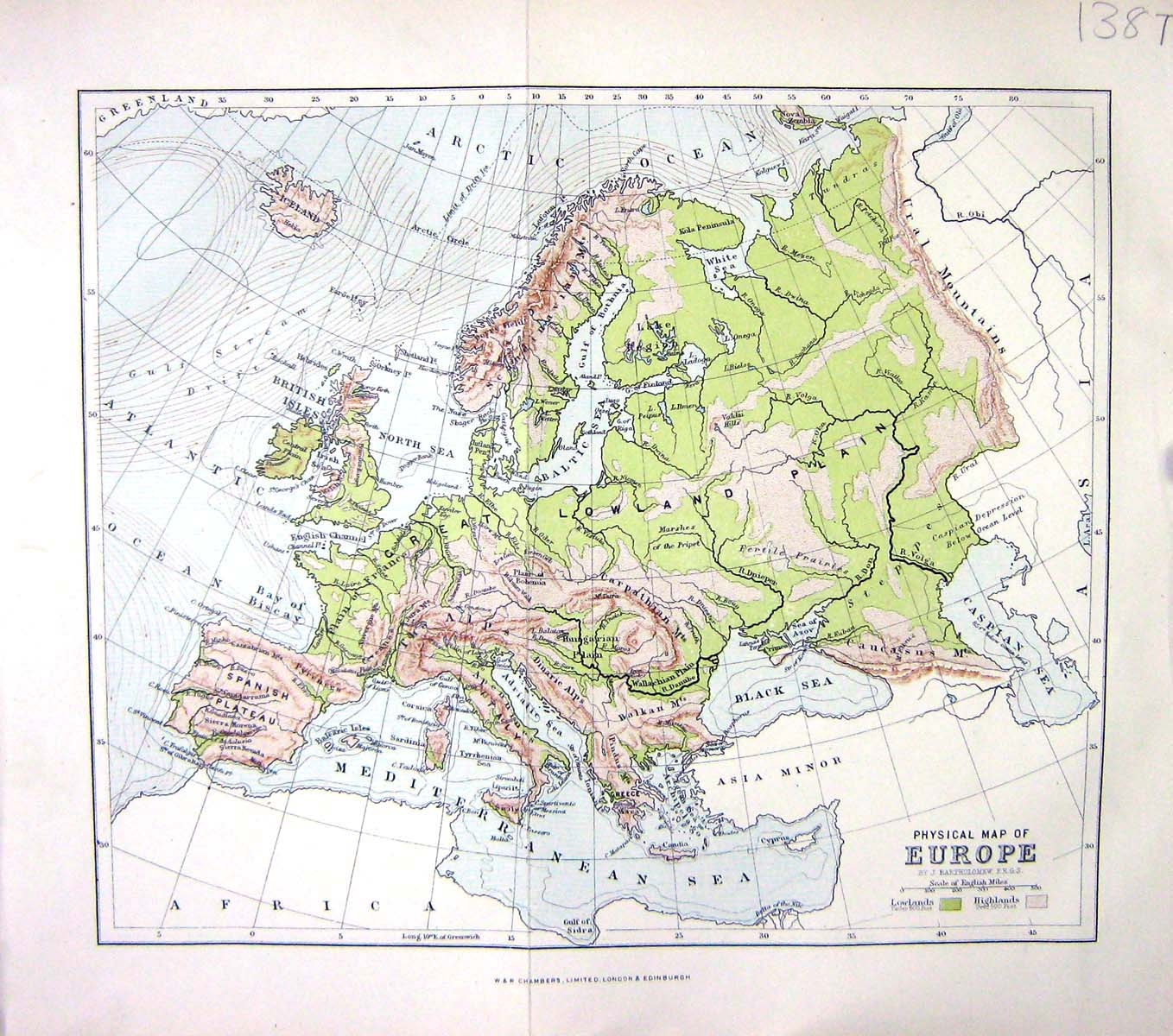 Old print antique and victorian art prints paintings world maps print chambers physical map c1906 europe britain france spain italy gre 138th114 old original gumiabroncs Image collections