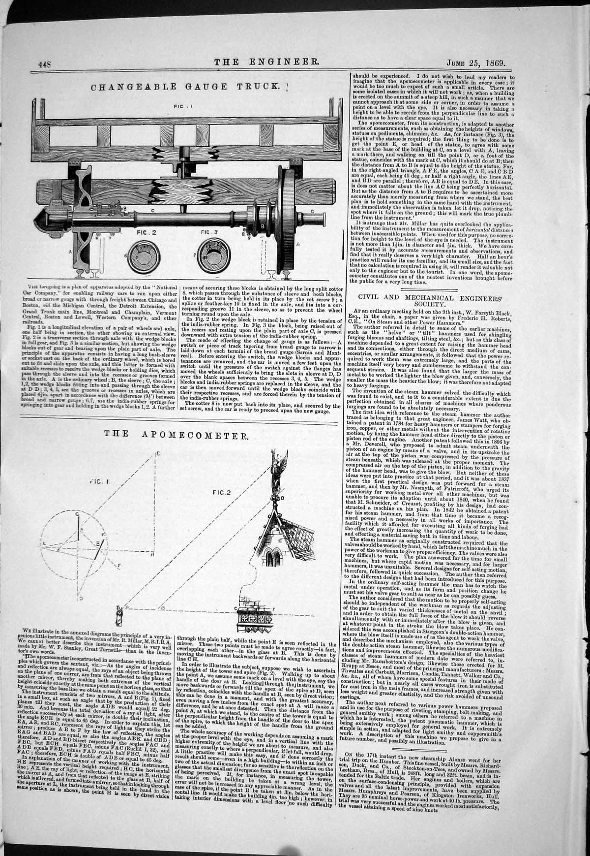 Print 1869 Changeable Gauge Truck Machinery Apomecometer Diagrams 448J027 Old Original