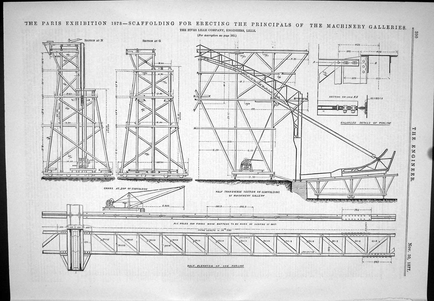[Print Scaffolding Erecting Principals Machinery Galleries Fives Lille 1 390J044 Old Original]