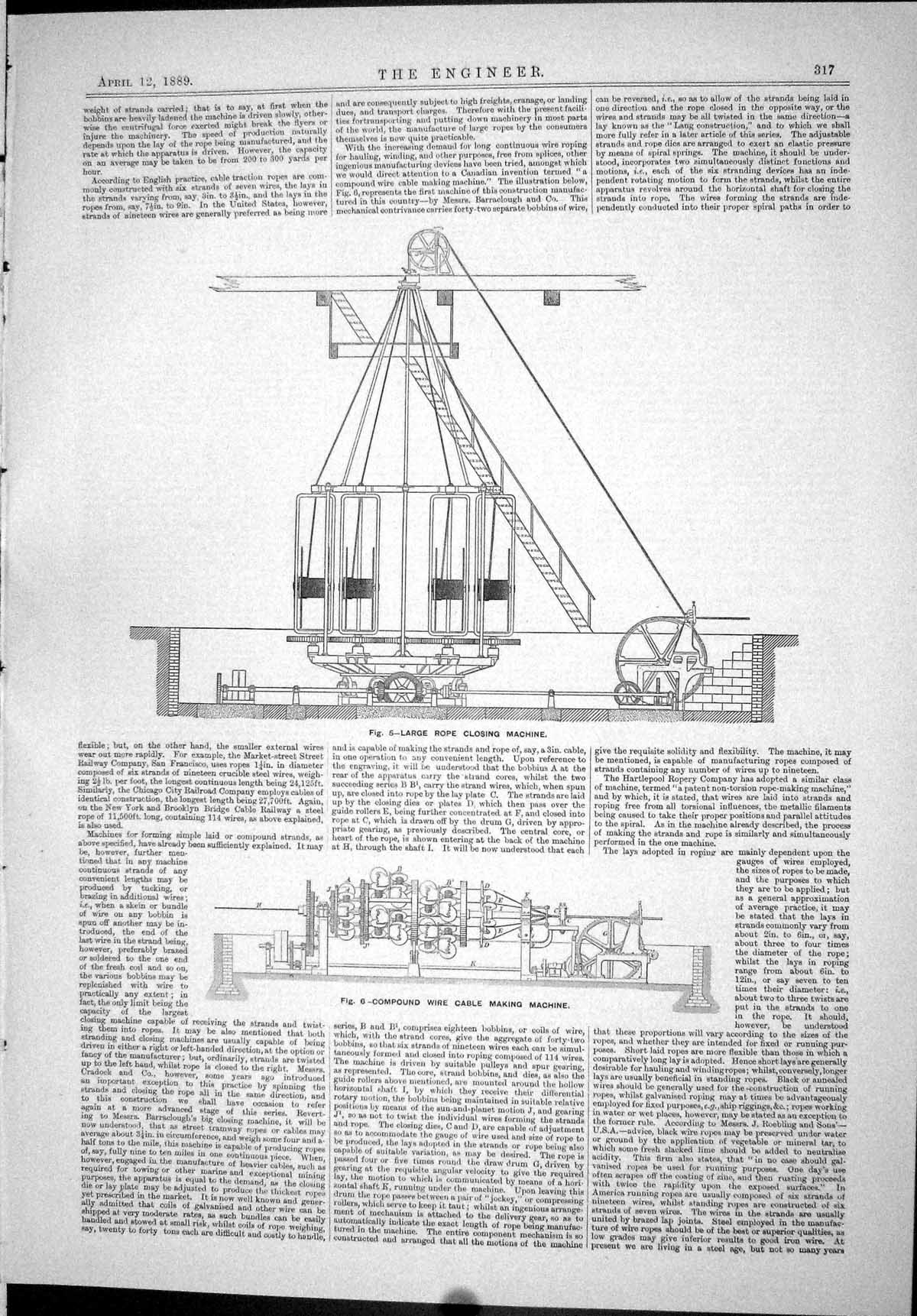 Print 1889 Large Rope Closing Machine Compound Wire Cable Making 317J067 Old Original