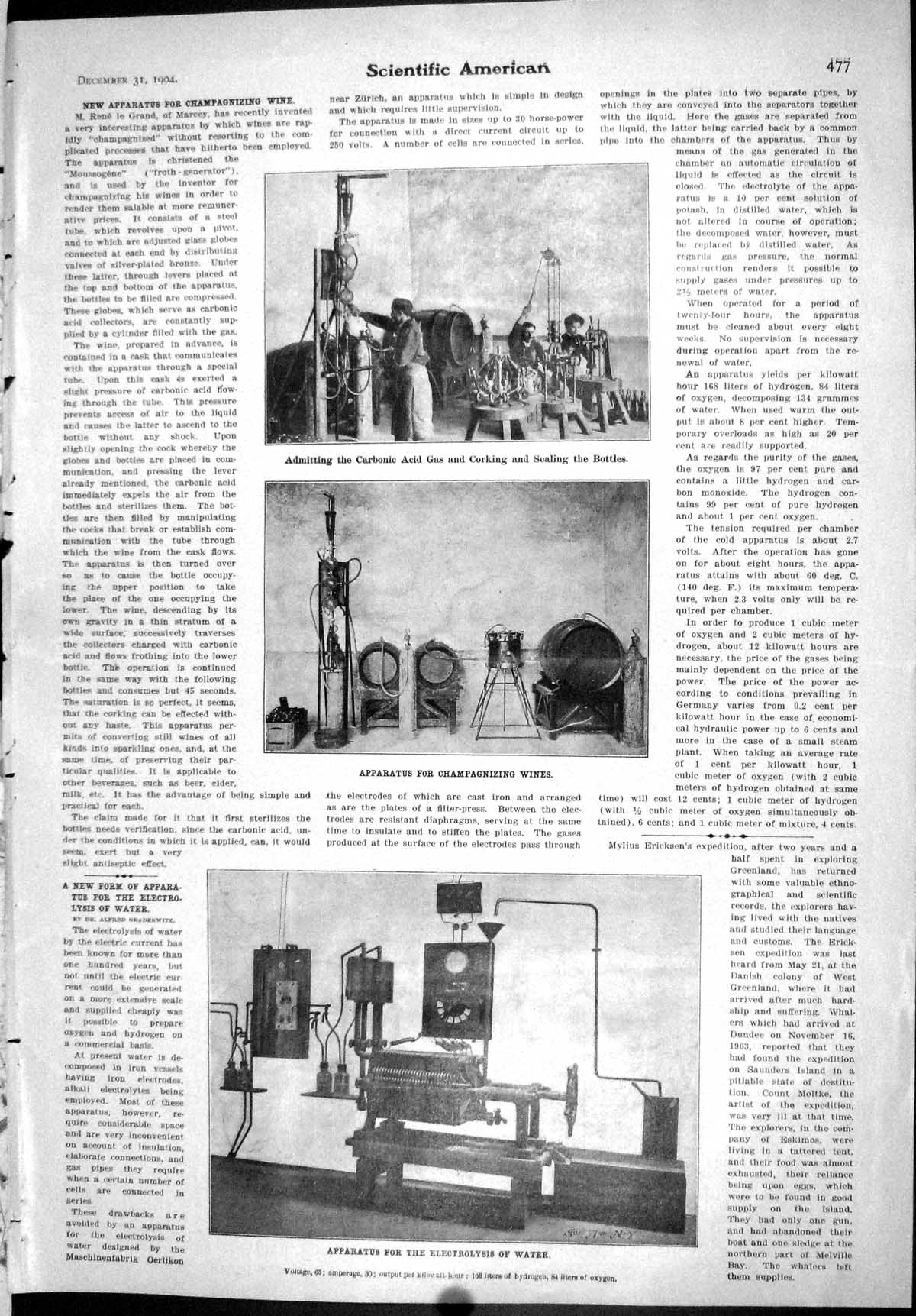 [Scientific American 1904 Apparatus Champagnizing Wines Electrolys 477J091 ]
