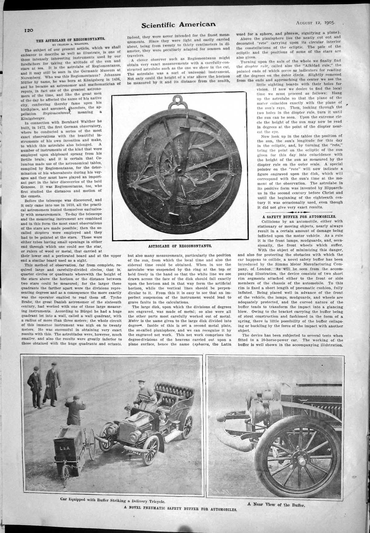 [Print 1905 Pneumatic Safety Buffer Automobiles Car Tricycle Astrolabe R 120J093 Old Original]