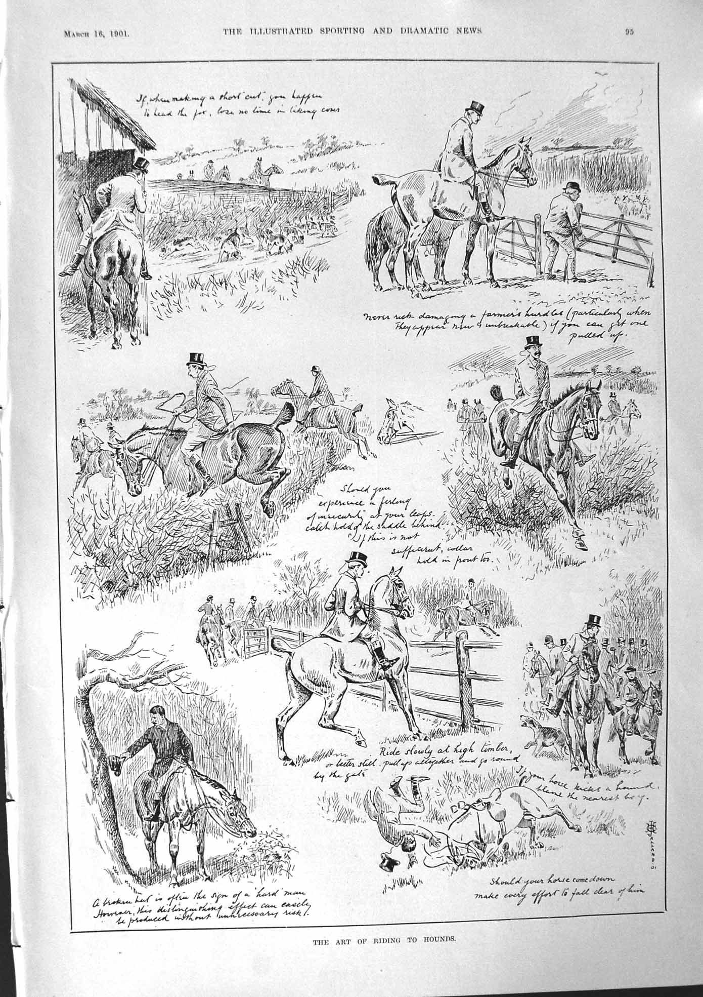 [Print 1901 Horse Hounds Hunting Dogs Maude Danks Kitty Clive Woffington 095J103 Old Original]