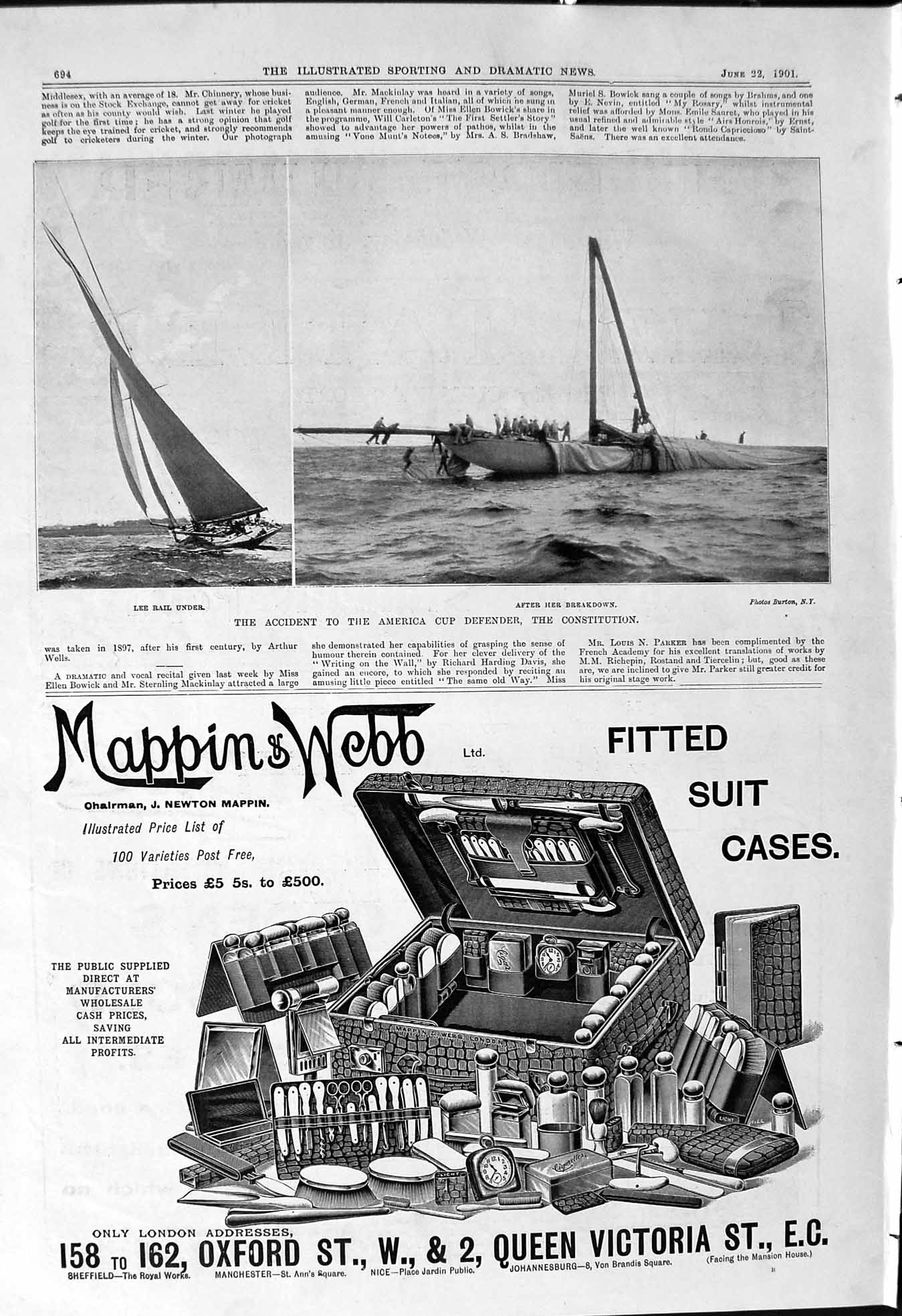 [Print 1901 America Cup Defender Constitution Mappin Webb Tatler Paper 694J104 ]
