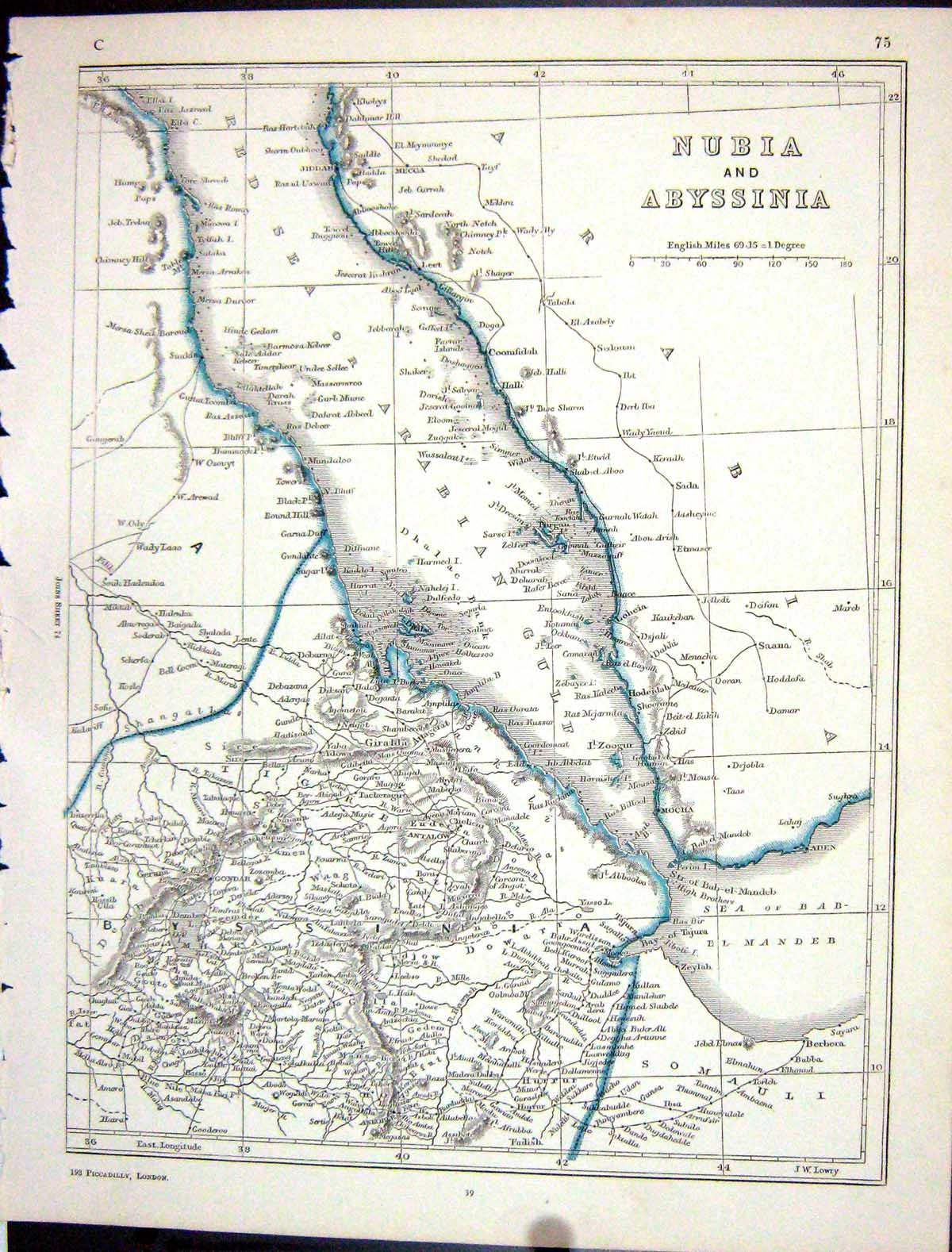 [Print Lowry Map 1853 Nubia Abyssinia Africa Red Sea Antalow 075J108 Old Original]