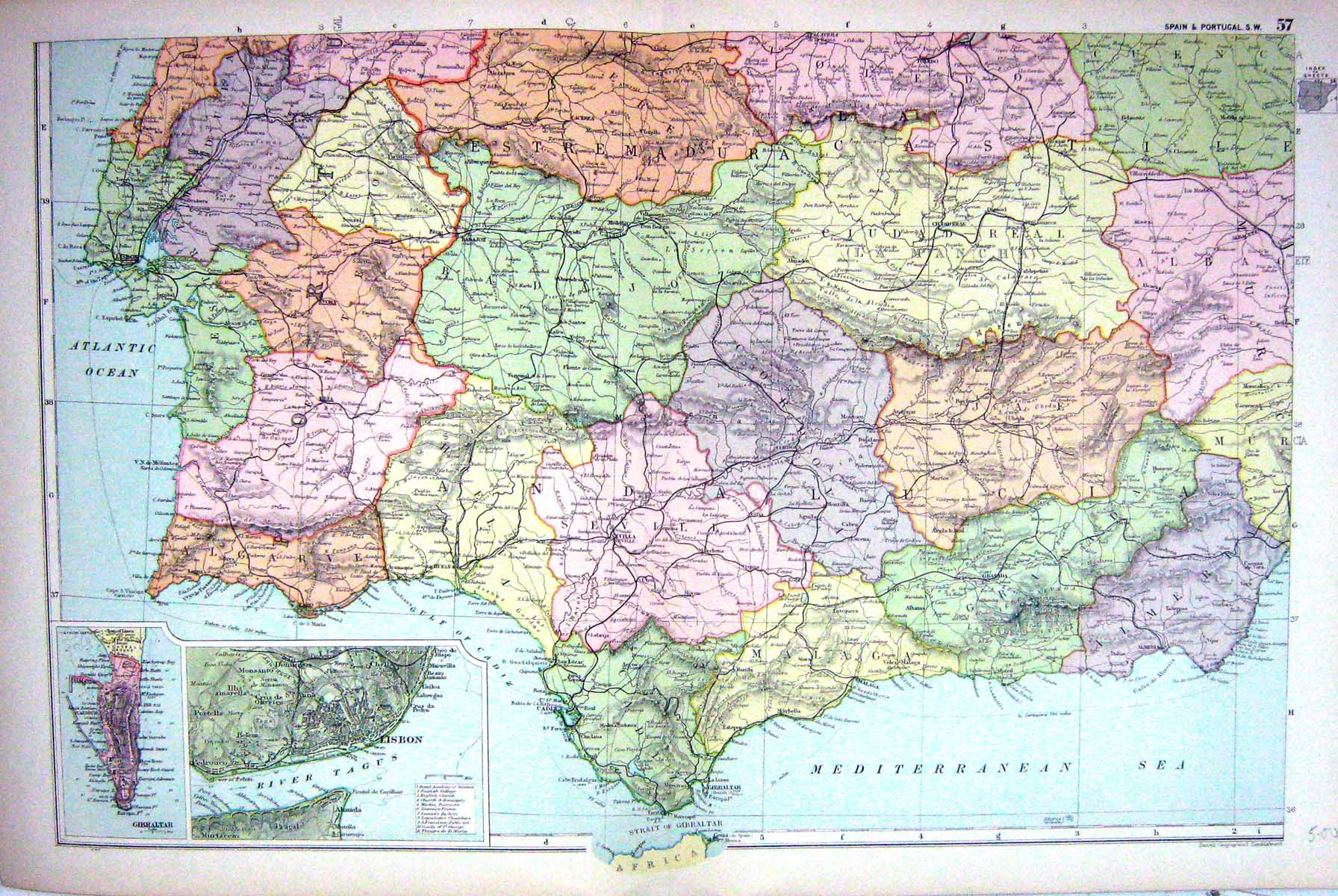 Print Map Bacon South West Spain Portugal Lisbon Gibraltar - Portugal map to print