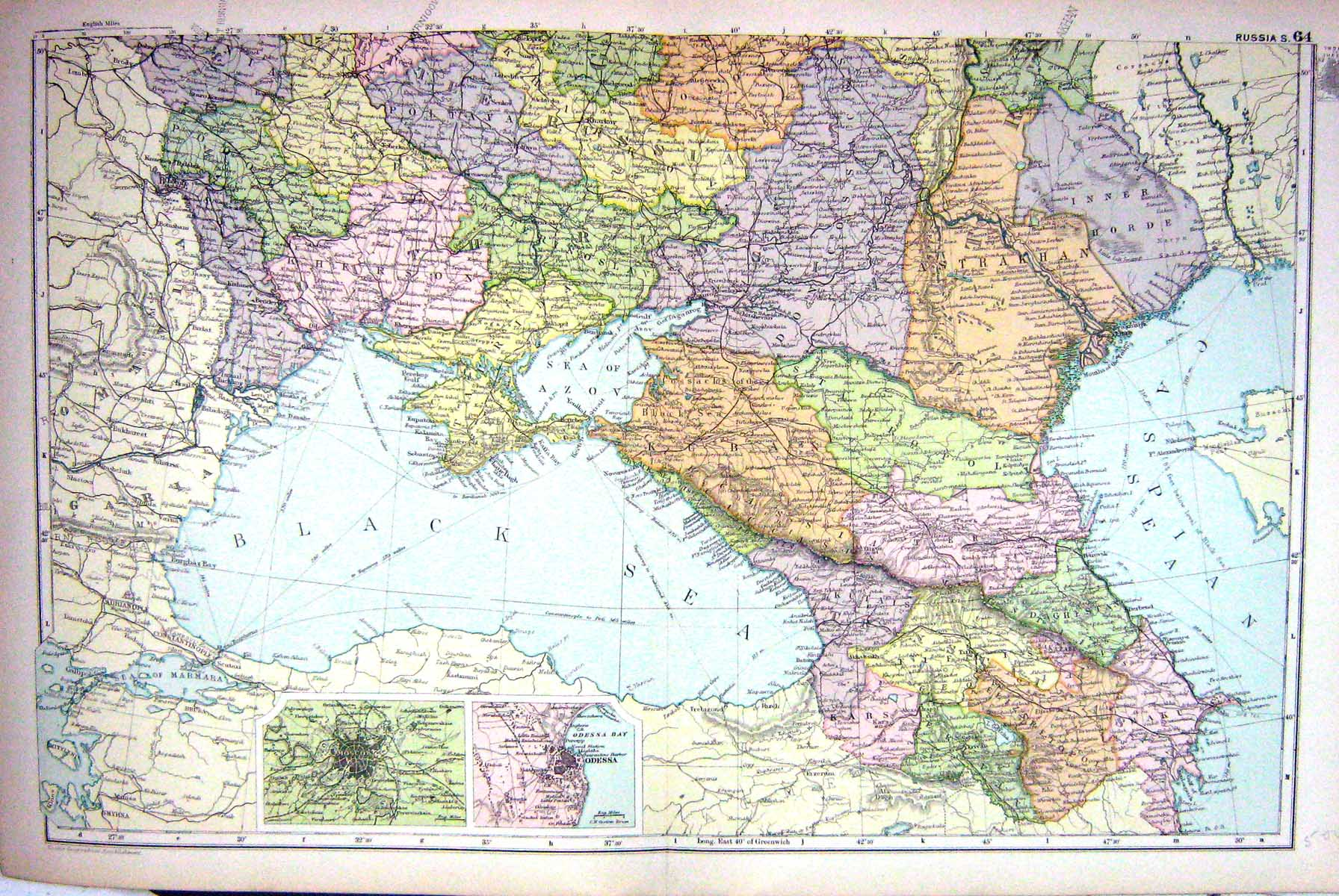 25 Print Map Bacon 1911 South Russia Plan Odessa Moscow Black Sea